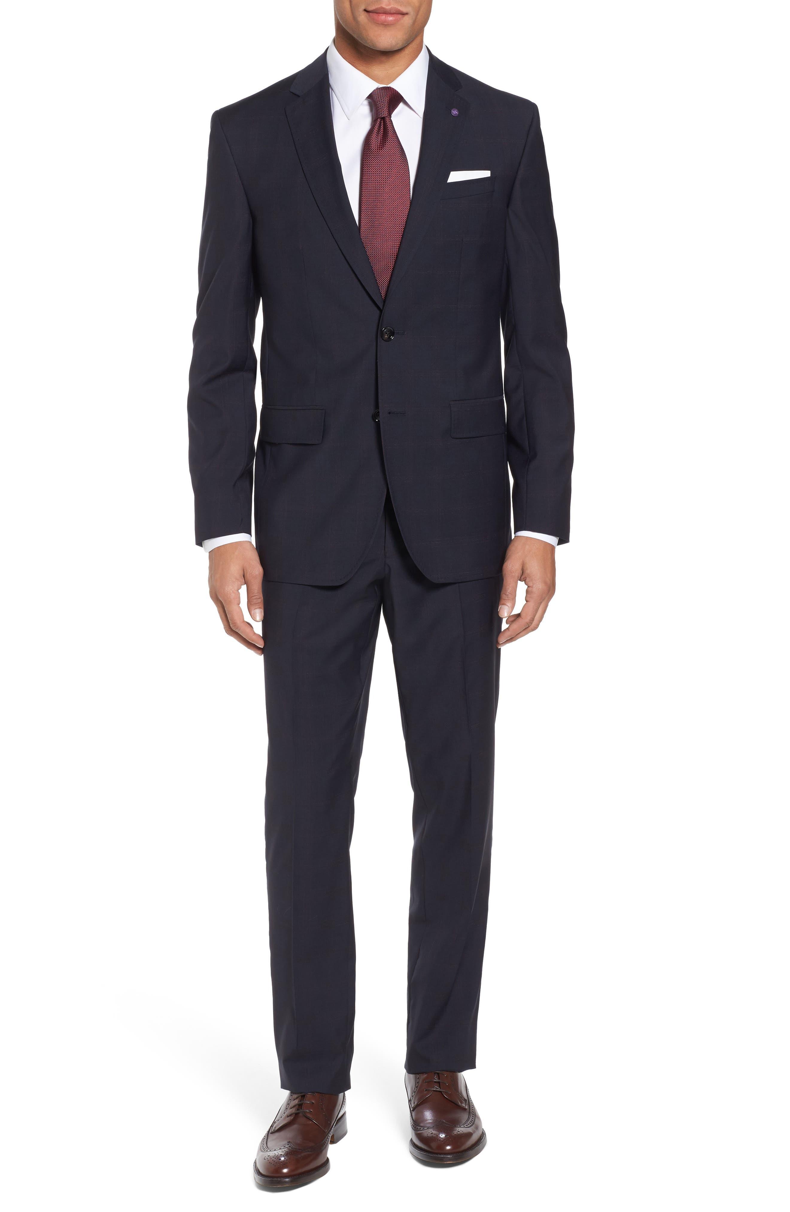 Jay Trim Fit Plaid Wool Suit,                             Main thumbnail 1, color,                             001