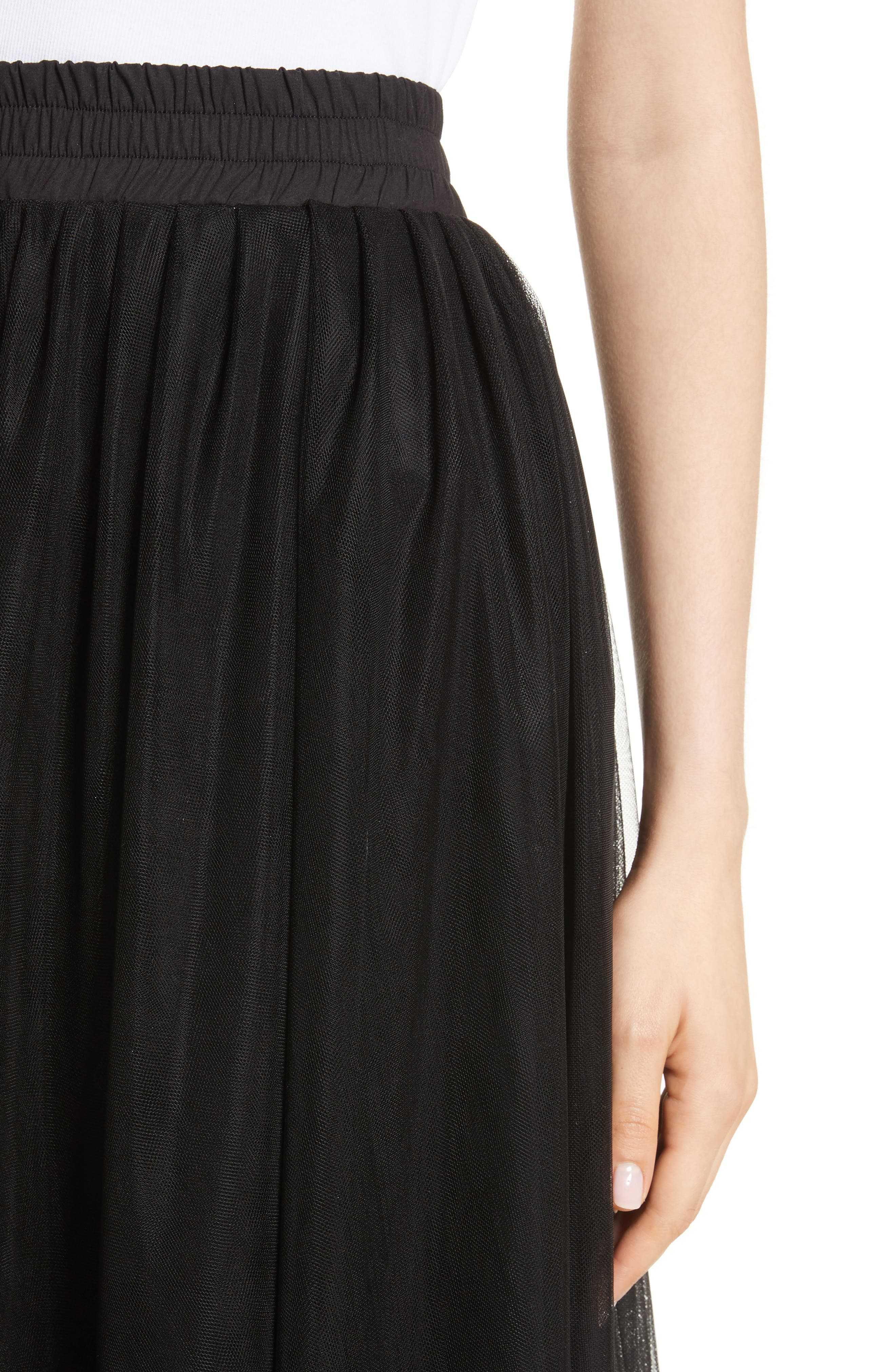 Tulle Midi Skirt,                             Alternate thumbnail 4, color,                             001