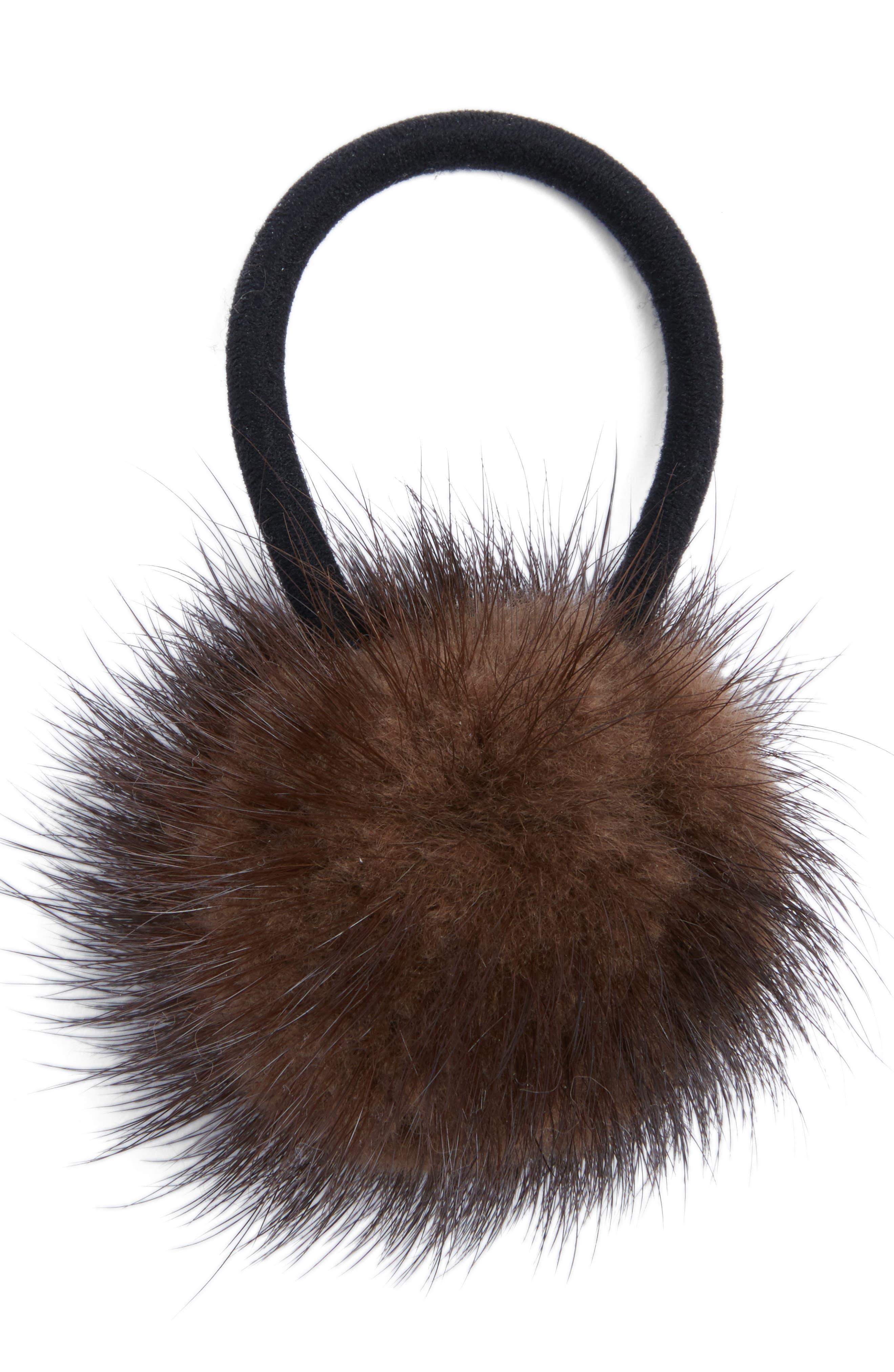 JOCELYN Genuine Mink Pom Ponytail Holder in Brown