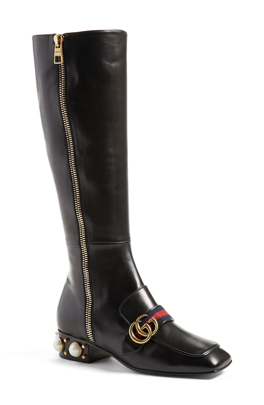 Embellished Riding Boot,                             Main thumbnail 1, color,                             001