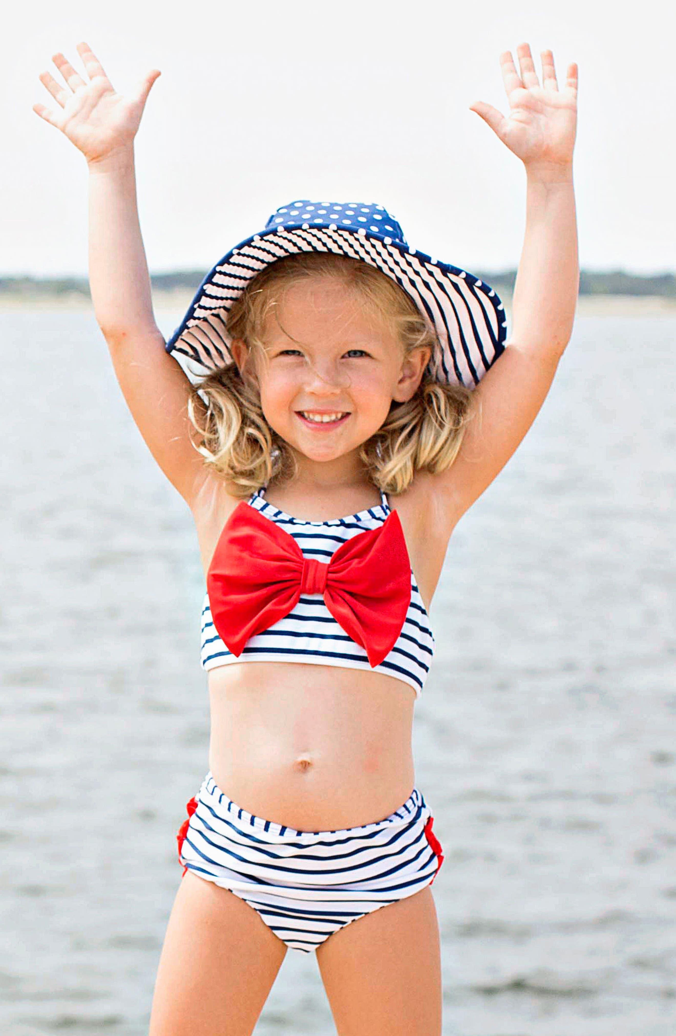 Stripe Two-Piece Swimsuit & Reversible Sun Hat Set,                             Alternate thumbnail 3, color,                             NAVY