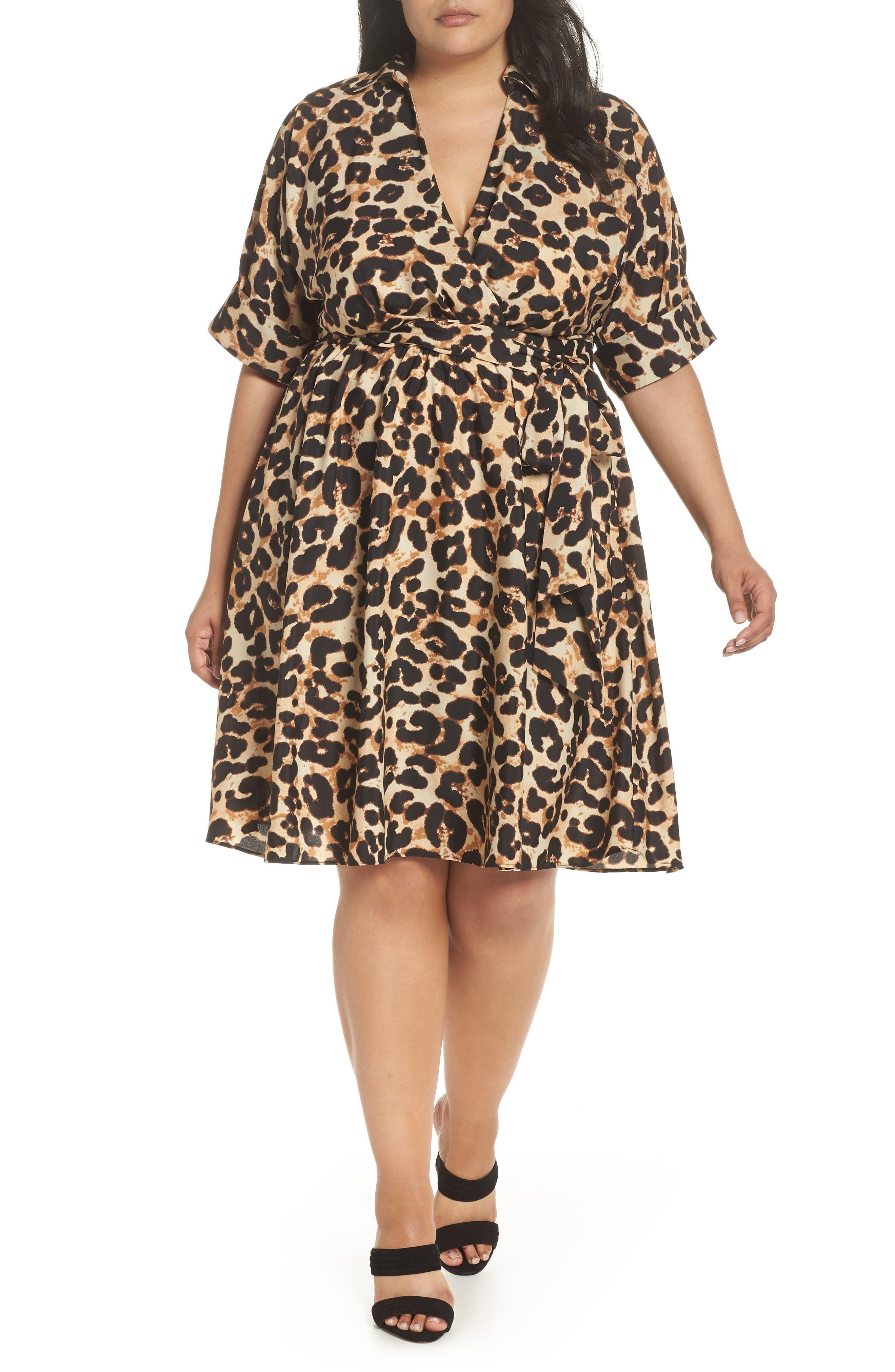 Plus Size Swing Dresses, Vintage Dresses Plus Size Womens Eliza J Leopard Print Shirtdress $94.80 AT vintagedancer.com