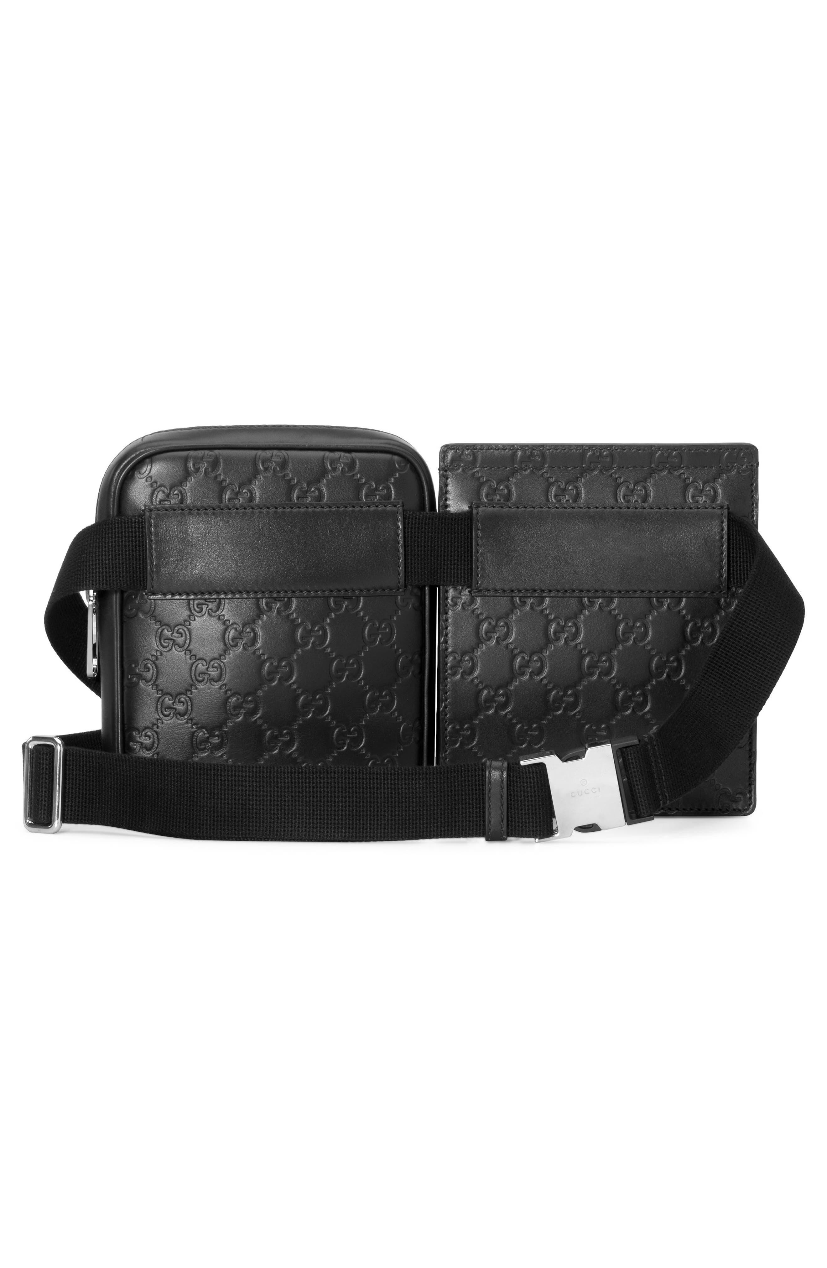 Leather Belt Bag,                             Alternate thumbnail 3, color,                             001