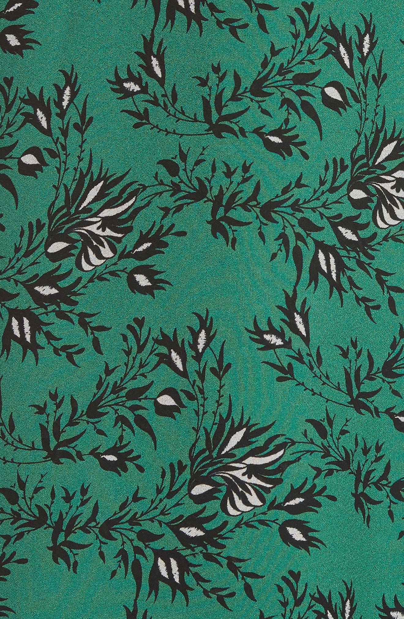Japanese Floral Midi Dress,                             Alternate thumbnail 5, color,                             EMERALD ORCHID