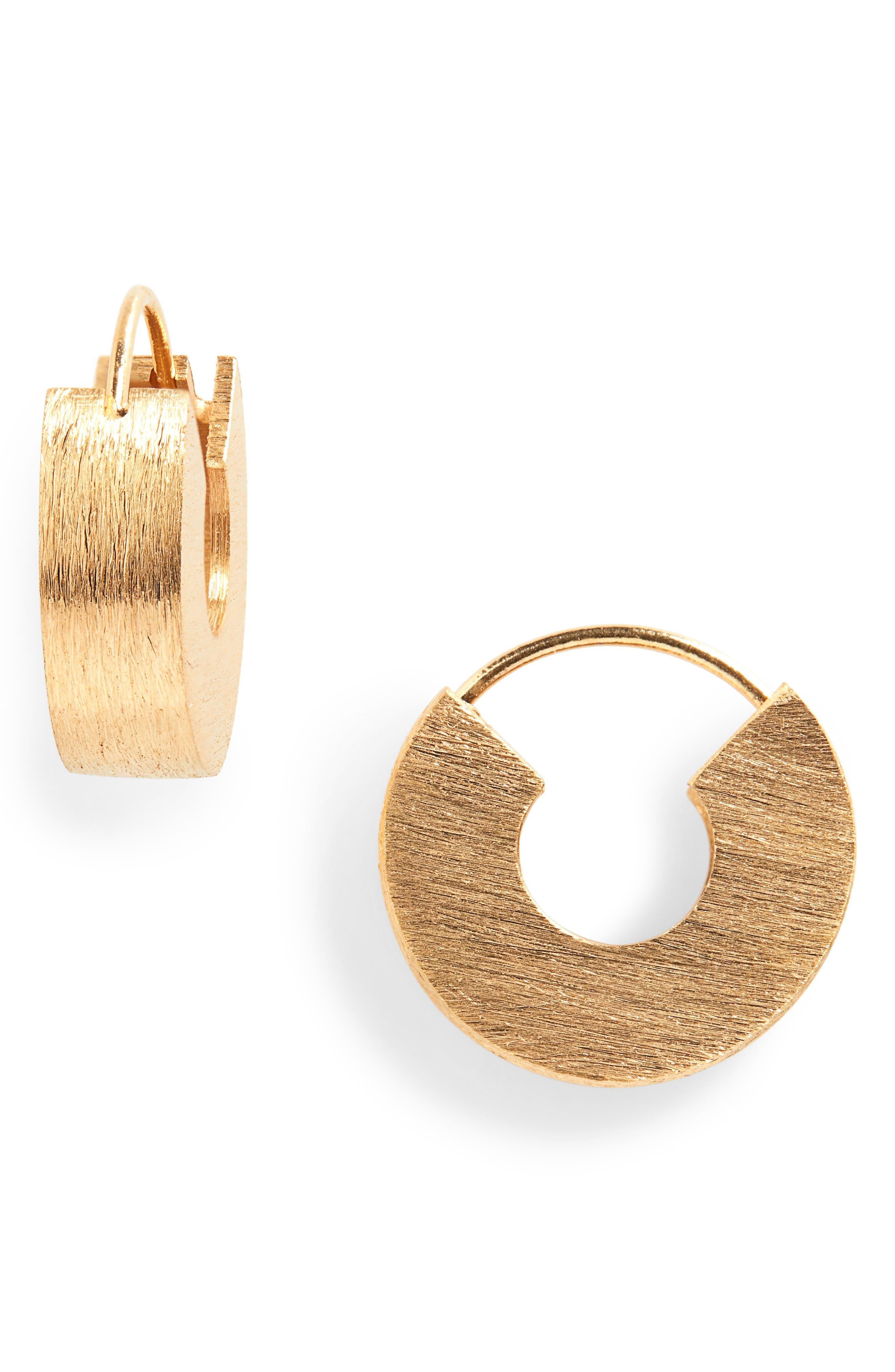 ALL BLUES U-Beam Brushed Vermeil Earrings in Gold