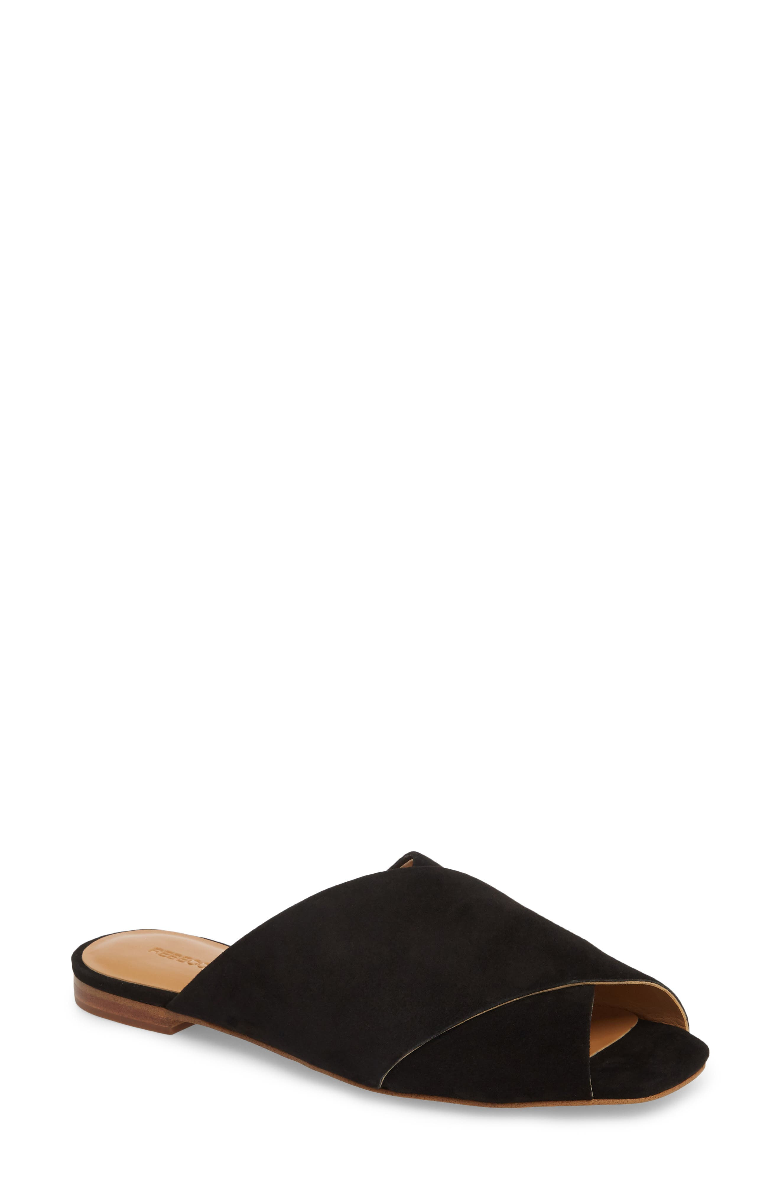 Anden Slide Sandal,                             Main thumbnail 1, color,                             BLACK SUEDE