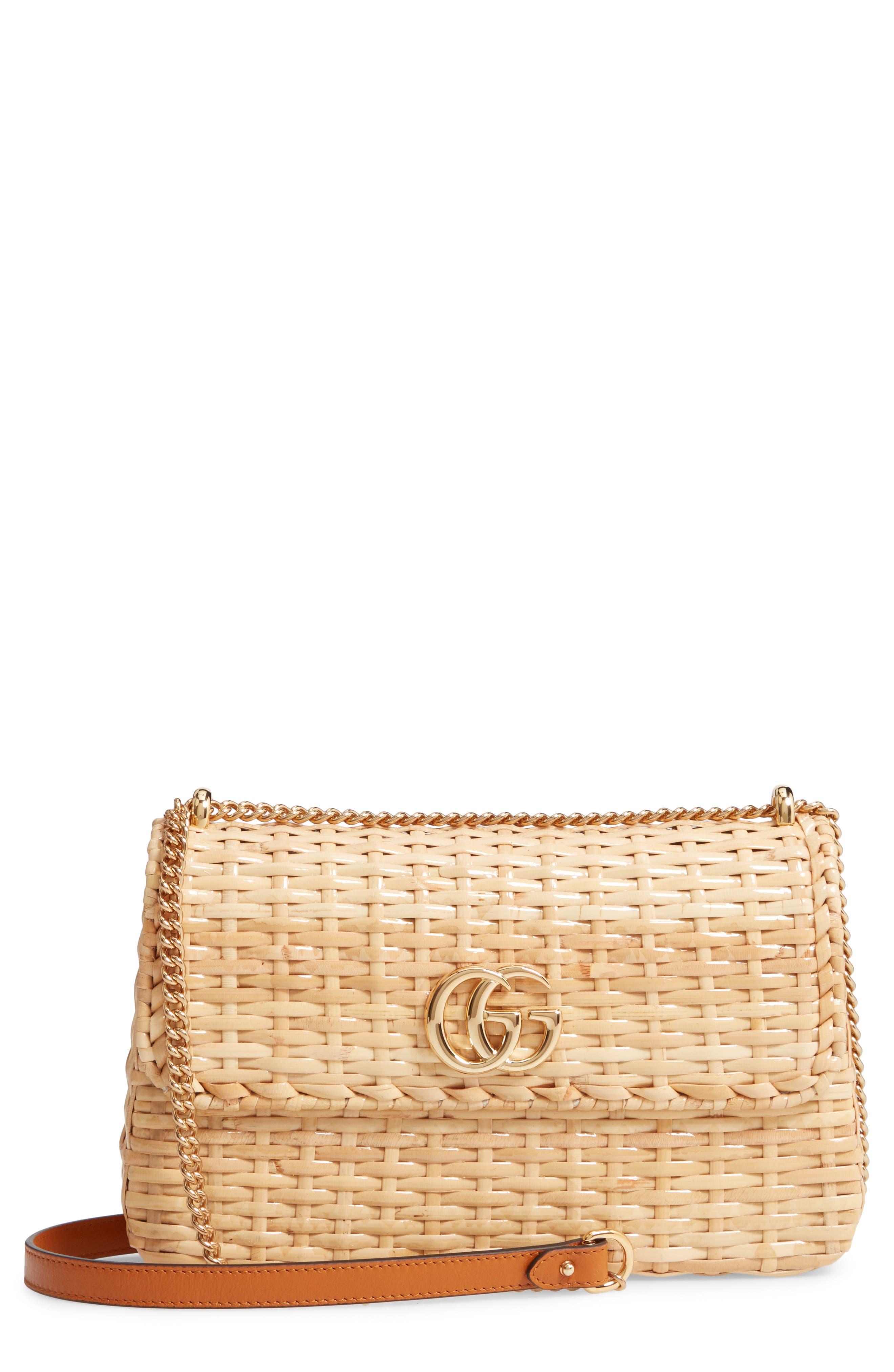 GUCCI Small Linea Cestino Glazed Wicker Shoulder Bag, Main, color, 250