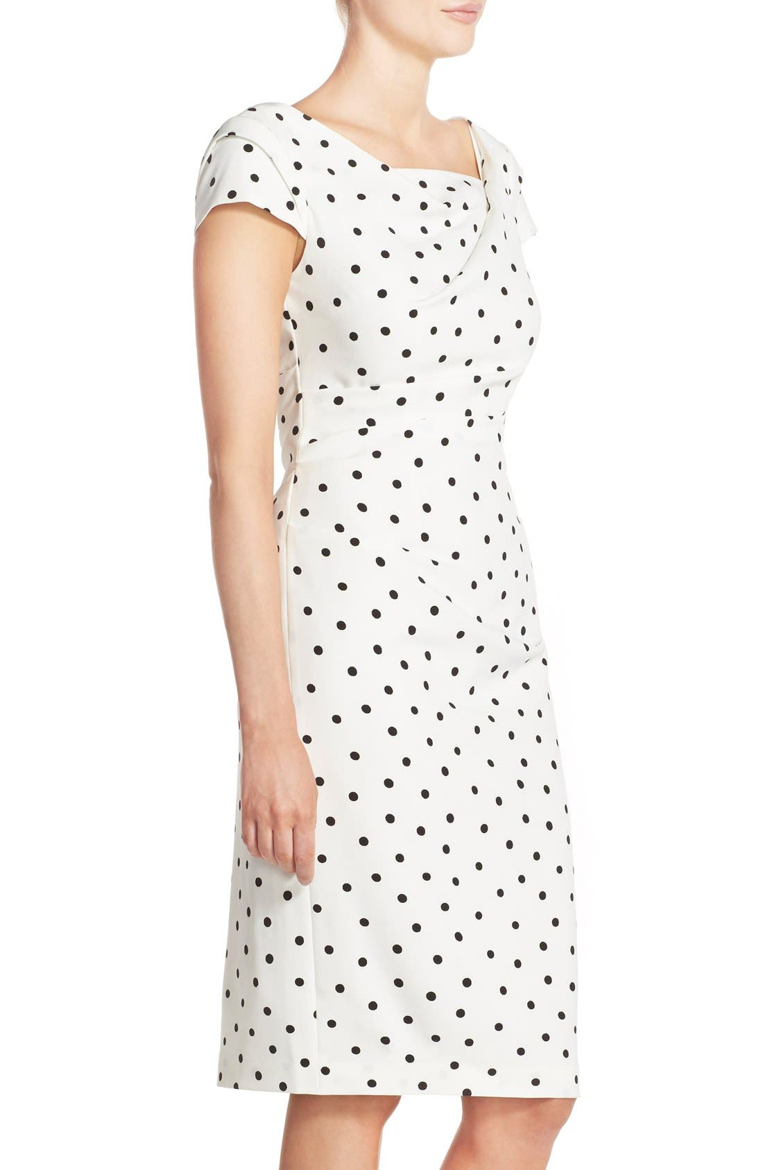 ADRIANNA PAPELL,                             Polka Dot Crepe Sheath Dress,                             Alternate thumbnail 2, color,                             900