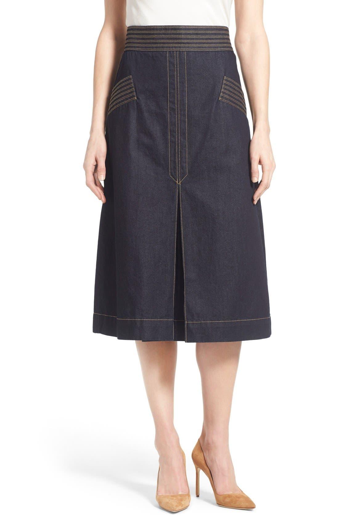 Retro Denim Skirt, Main, color, 410