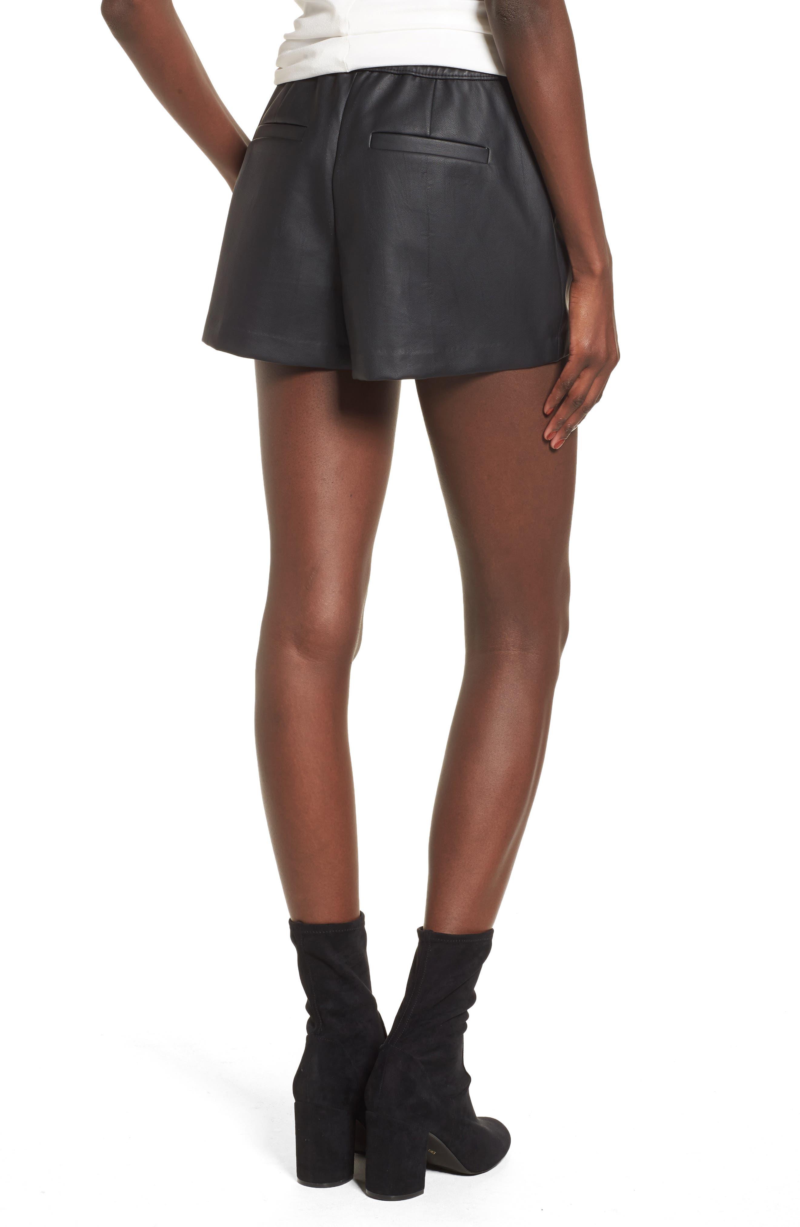 High Waist Faux Leather Shorts,                             Alternate thumbnail 2, color,