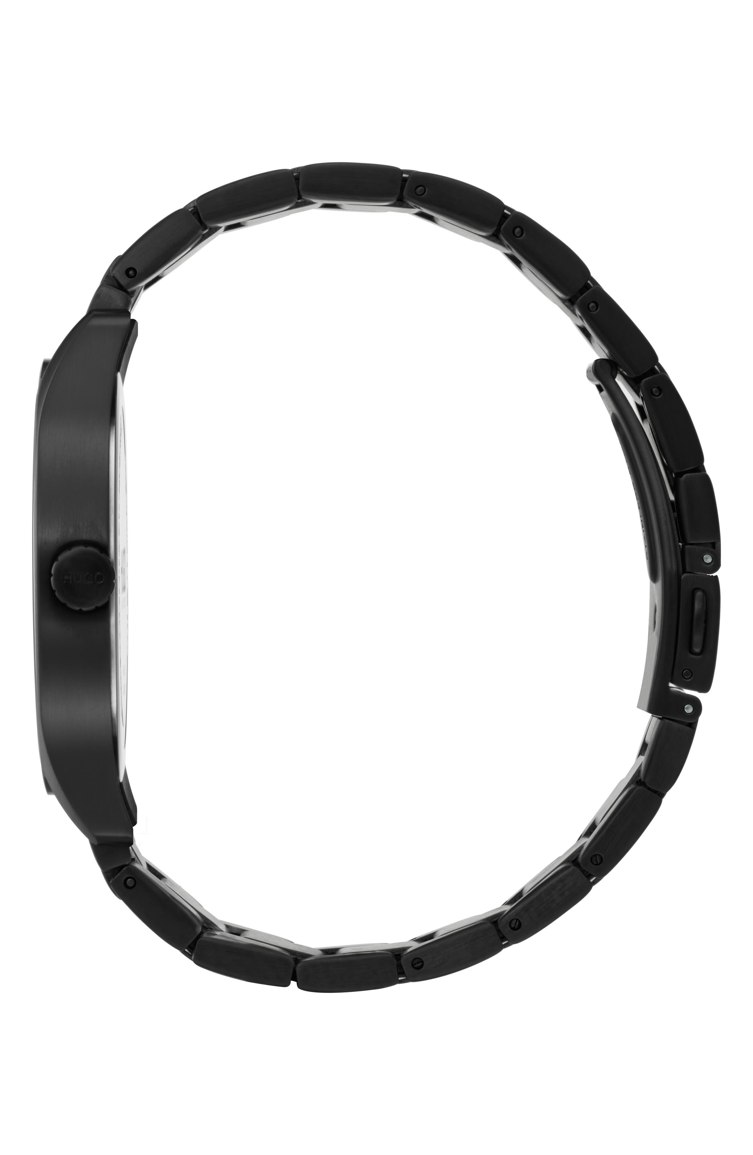 Bracelet Watch, 42mm,                             Alternate thumbnail 3, color,                             BLACK