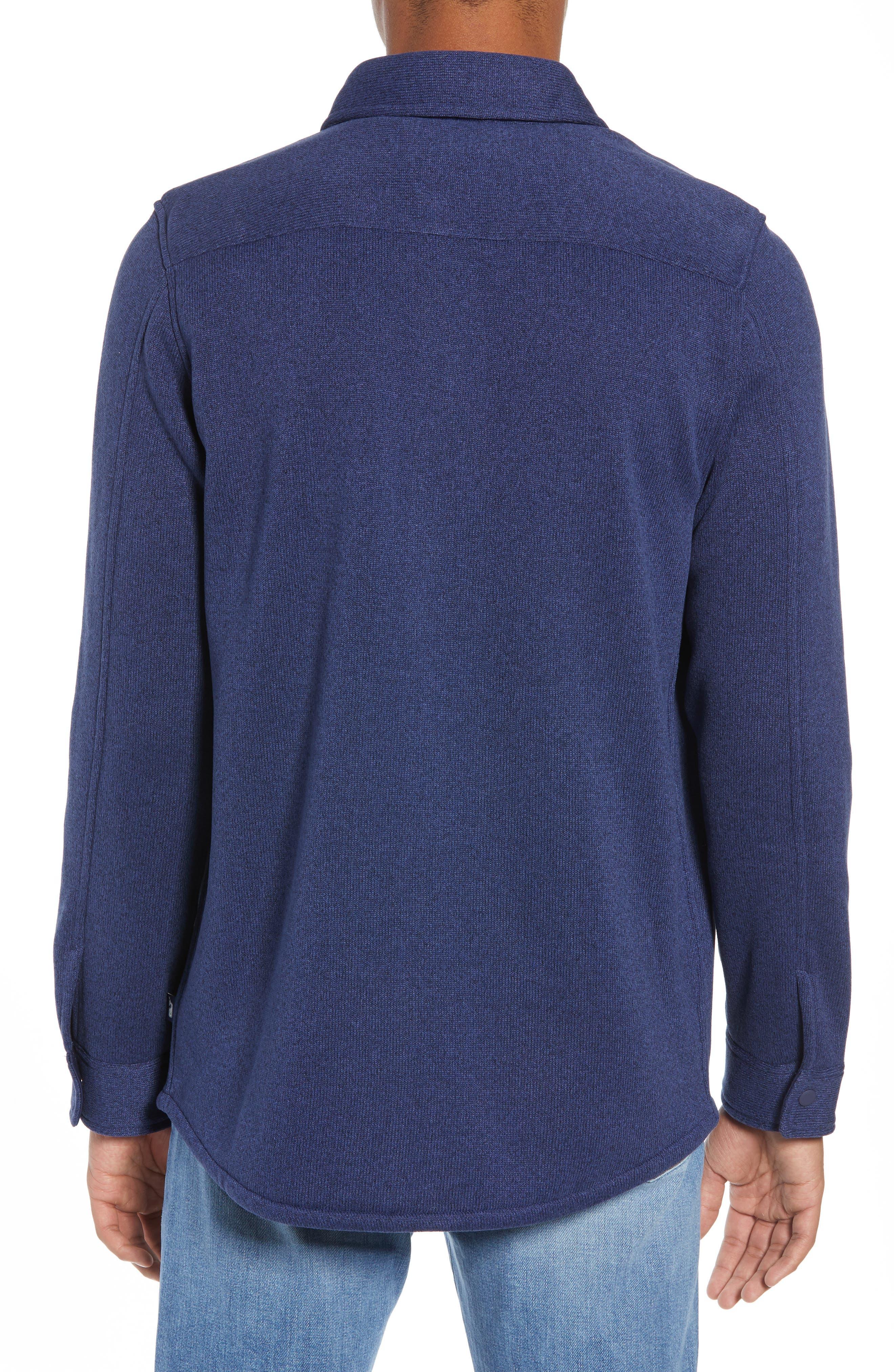 Knit Regular Fit Shirt Jacket,                             Alternate thumbnail 3, color,                             DEEP BAY