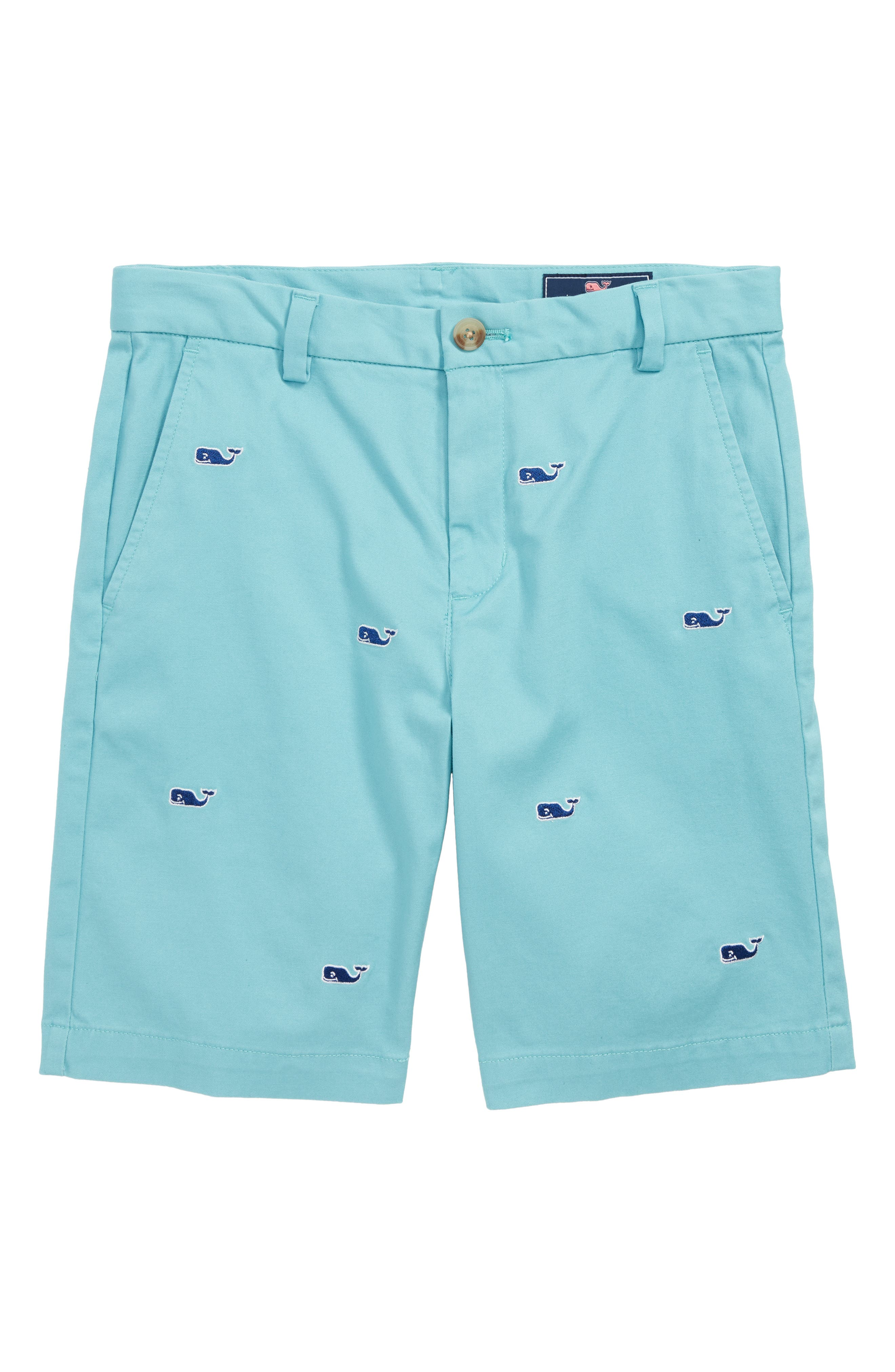 Whale Embroidered Breaker Shorts,                             Main thumbnail 1, color,                             AQUA OCEAN