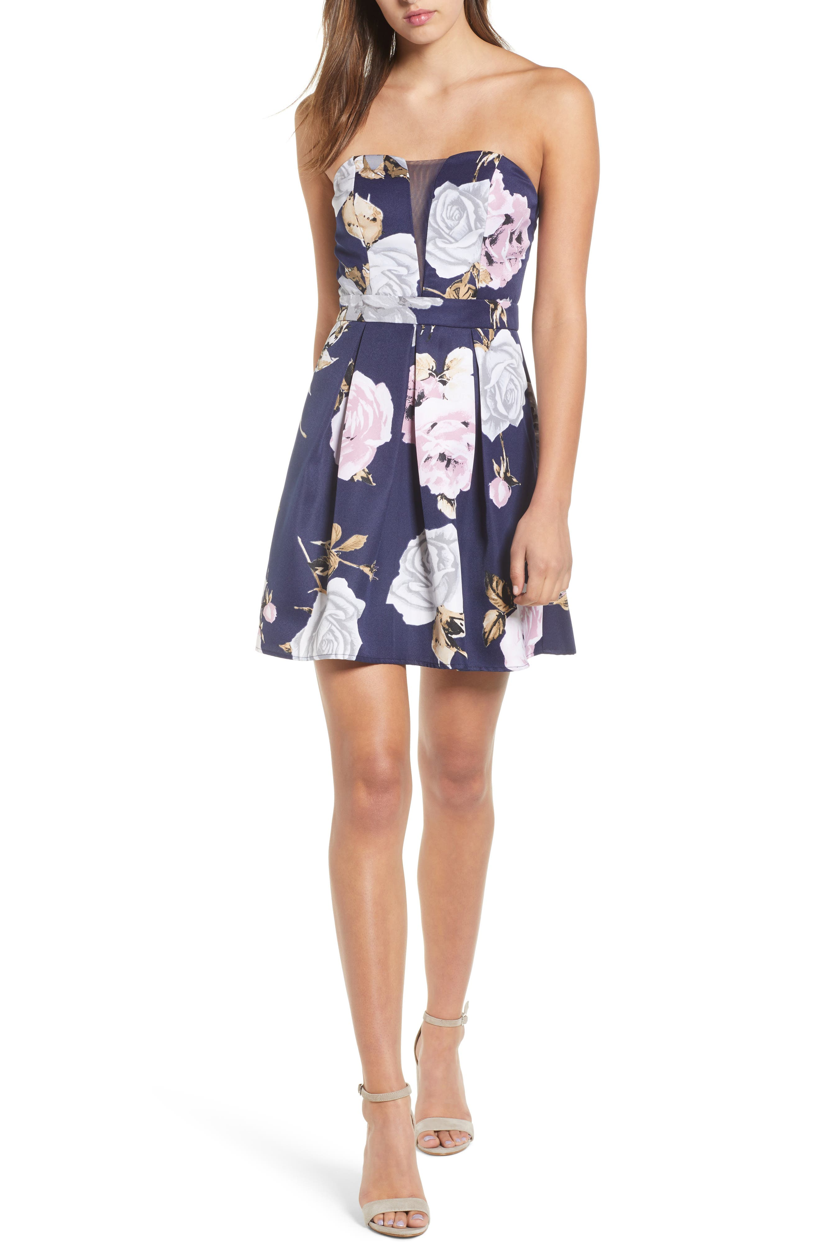 Floral Strapless Dress,                             Main thumbnail 1, color,                             NAVY/ GREEN