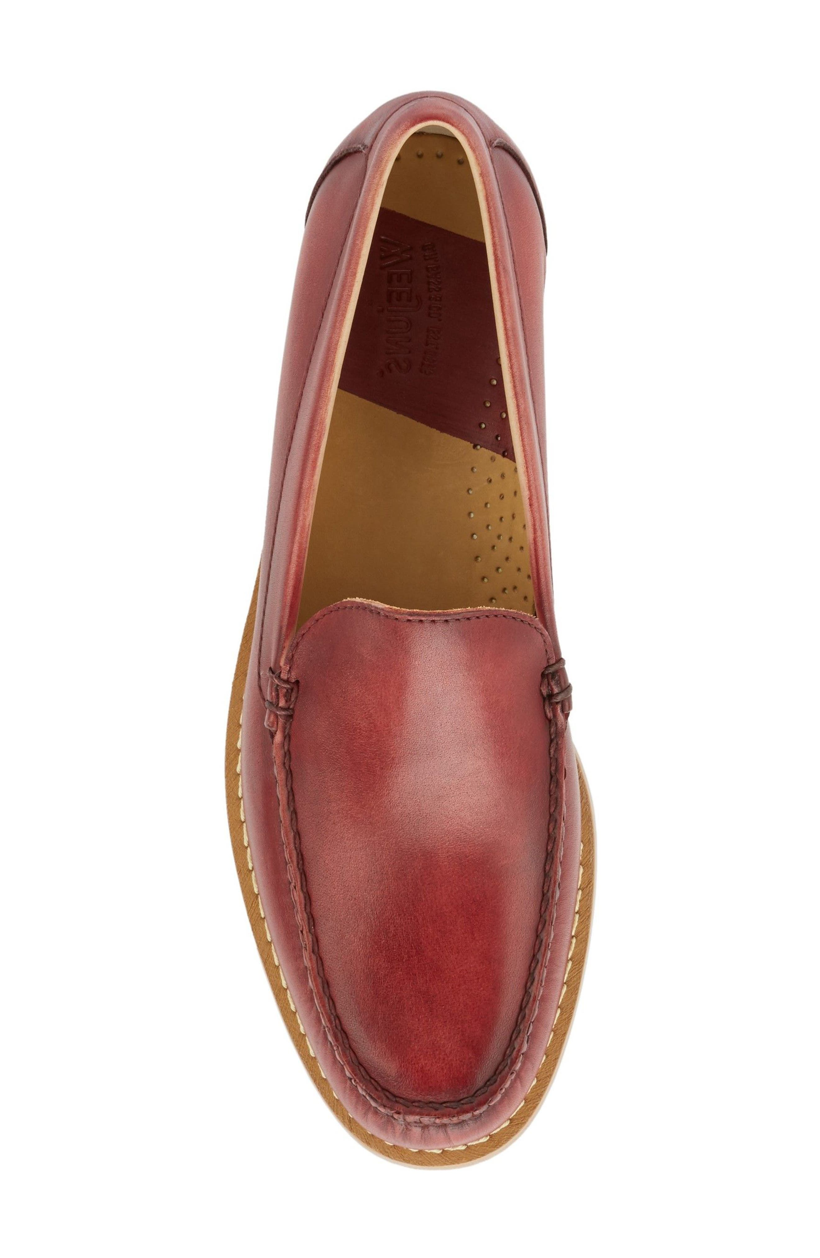 Moc Toe Loafer,                             Alternate thumbnail 5, color,                             RED LEATHER