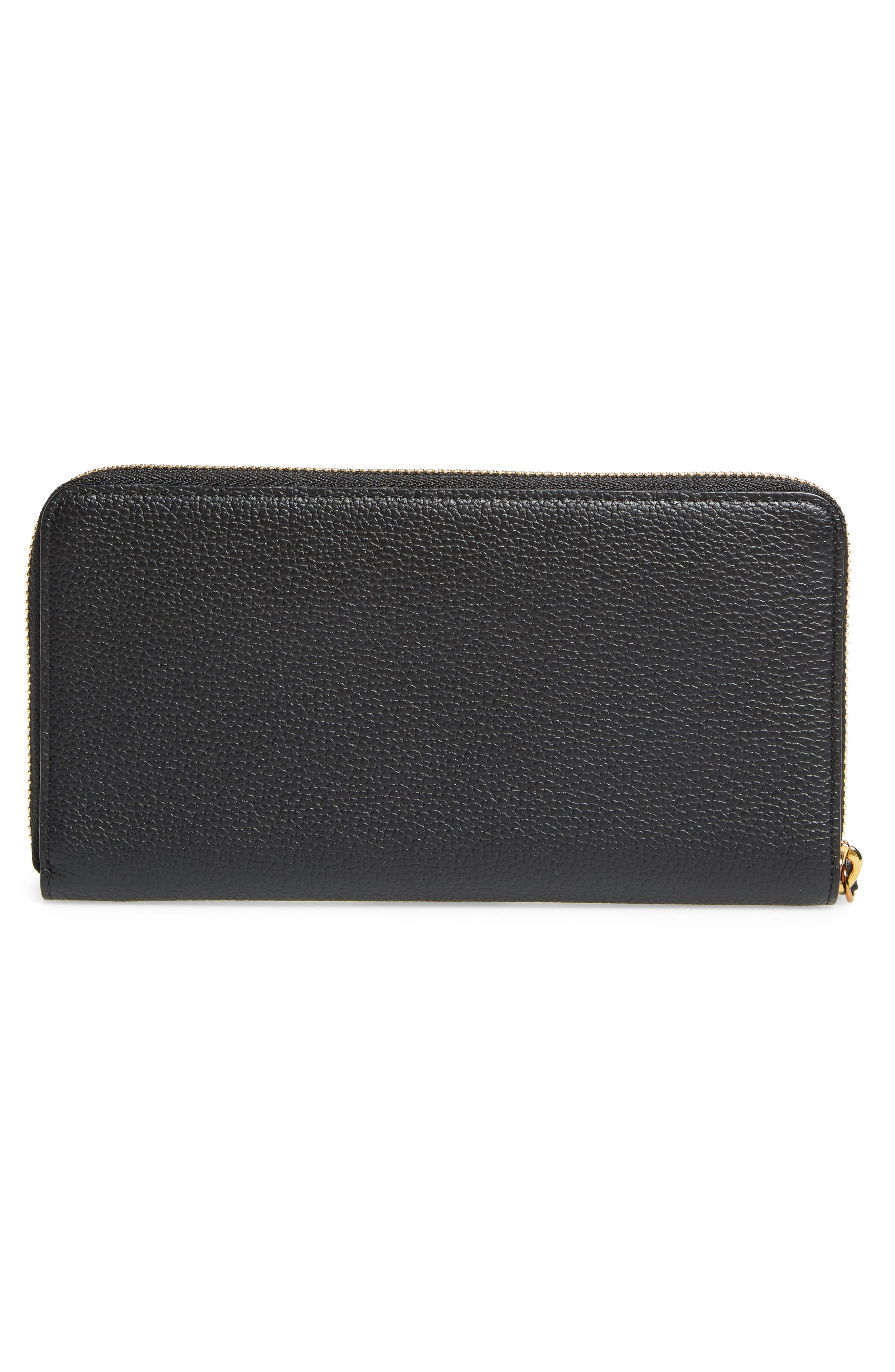 Large Milla Zip-Around Leather Wallet,                             Alternate thumbnail 3, color,                             001