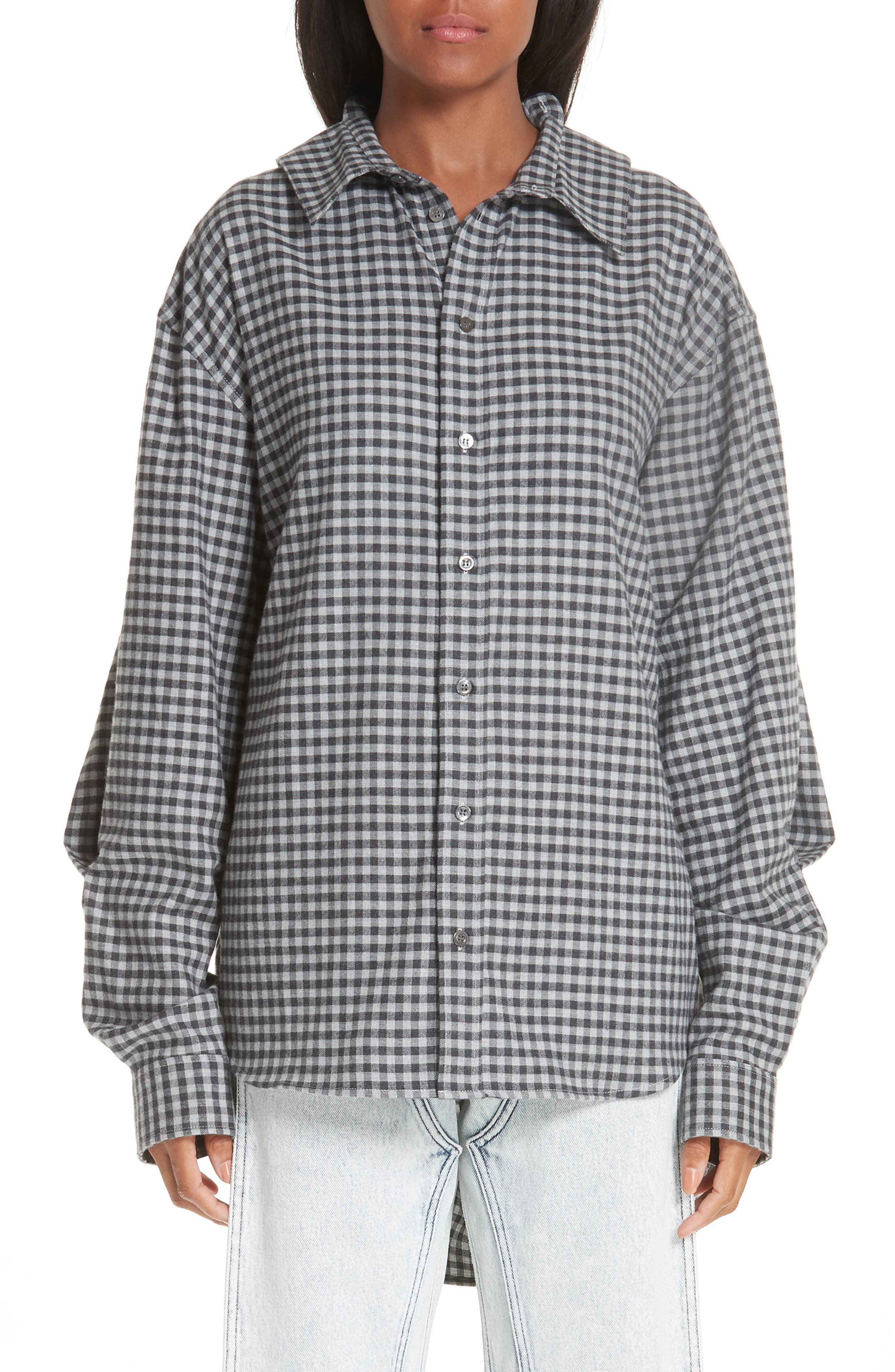 Double Front Gingham Blouse, Main, color, 020