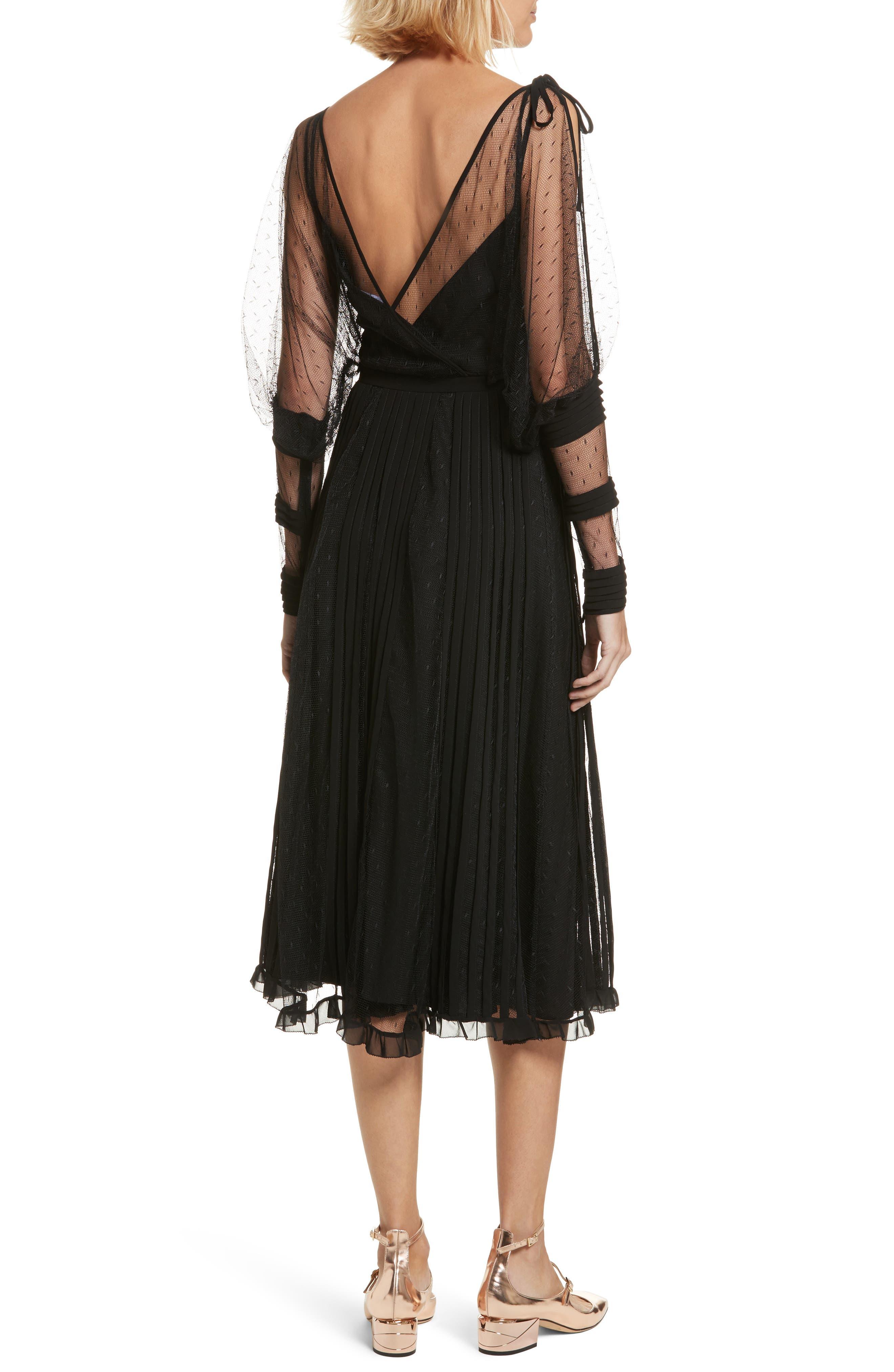 Point d'Esprit & Georgette Midi Dress,                             Alternate thumbnail 2, color,