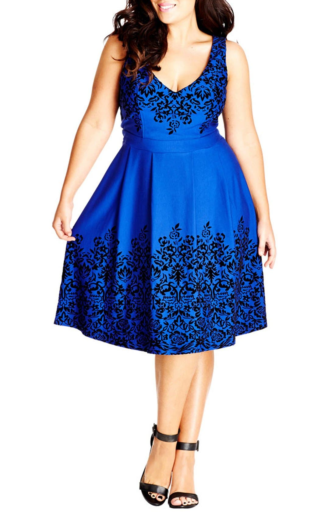 Border Flocked Fit & Flare Dress,                         Main,                         color, FRENCH BLUE