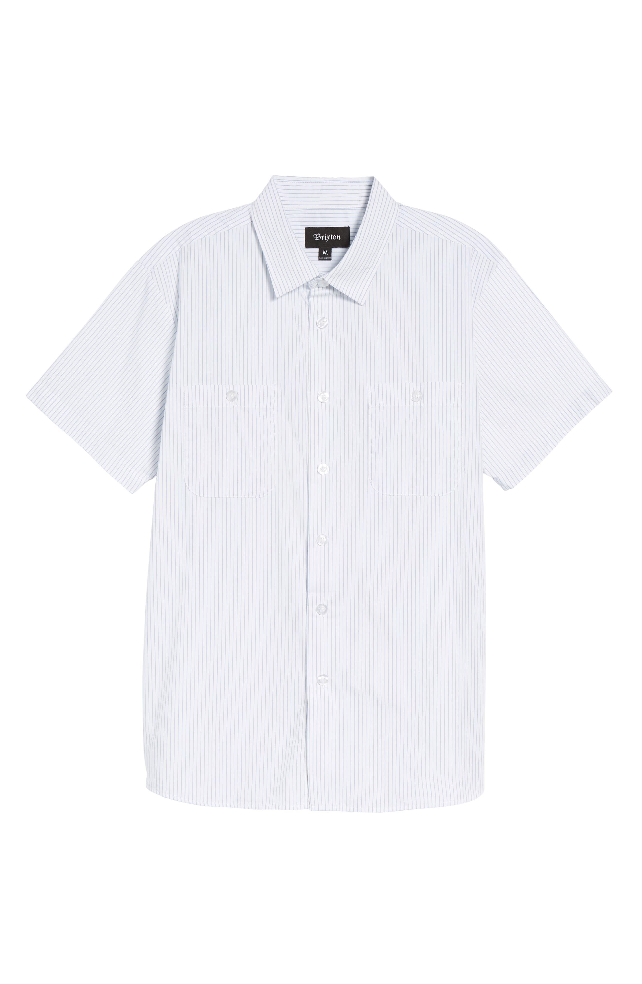 Reeve Pinstripe Woven Shirt,                             Alternate thumbnail 6, color,                             100
