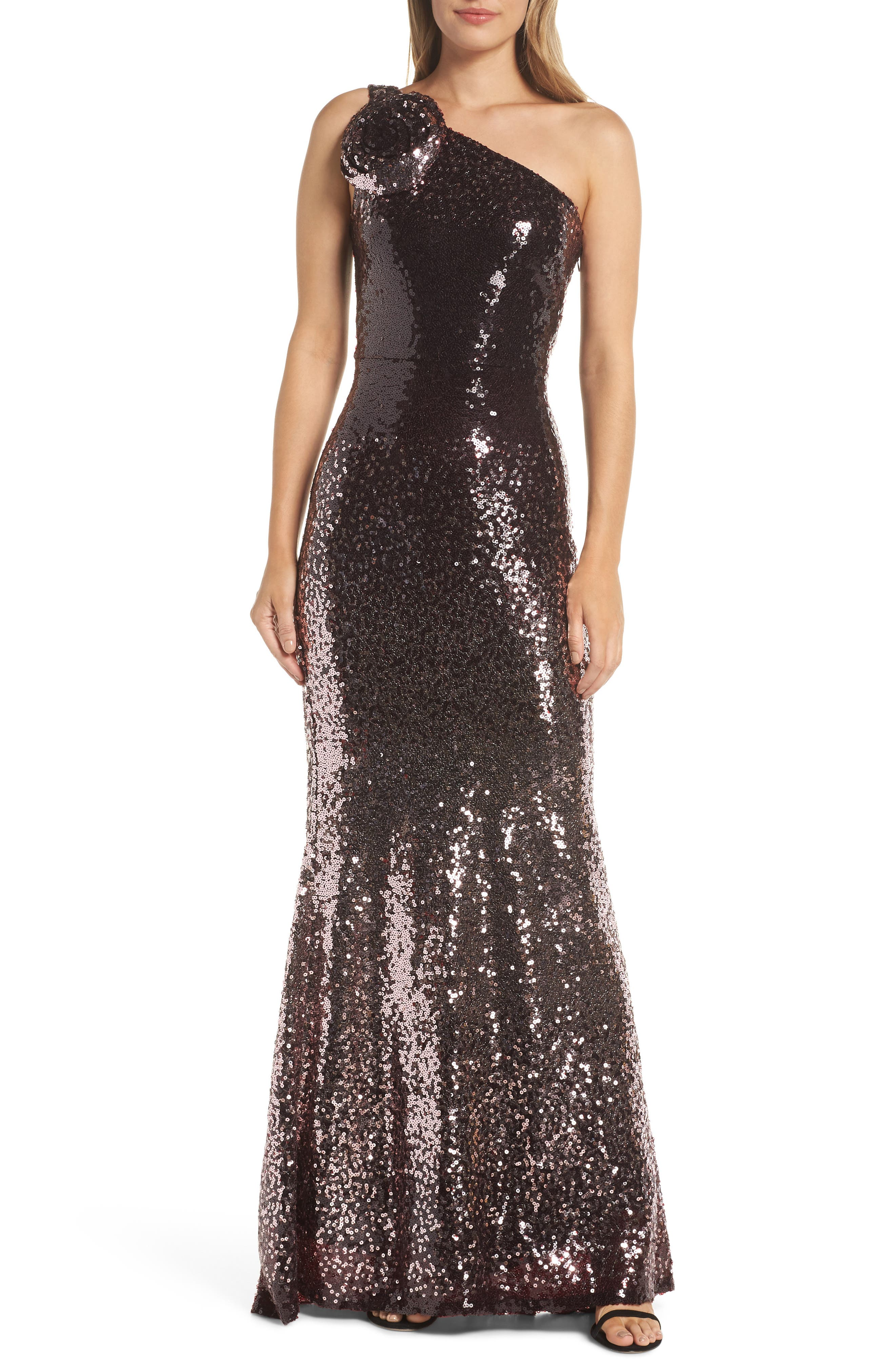 One-Shoulder Sequin Gown,                         Main,                         color, WINE
