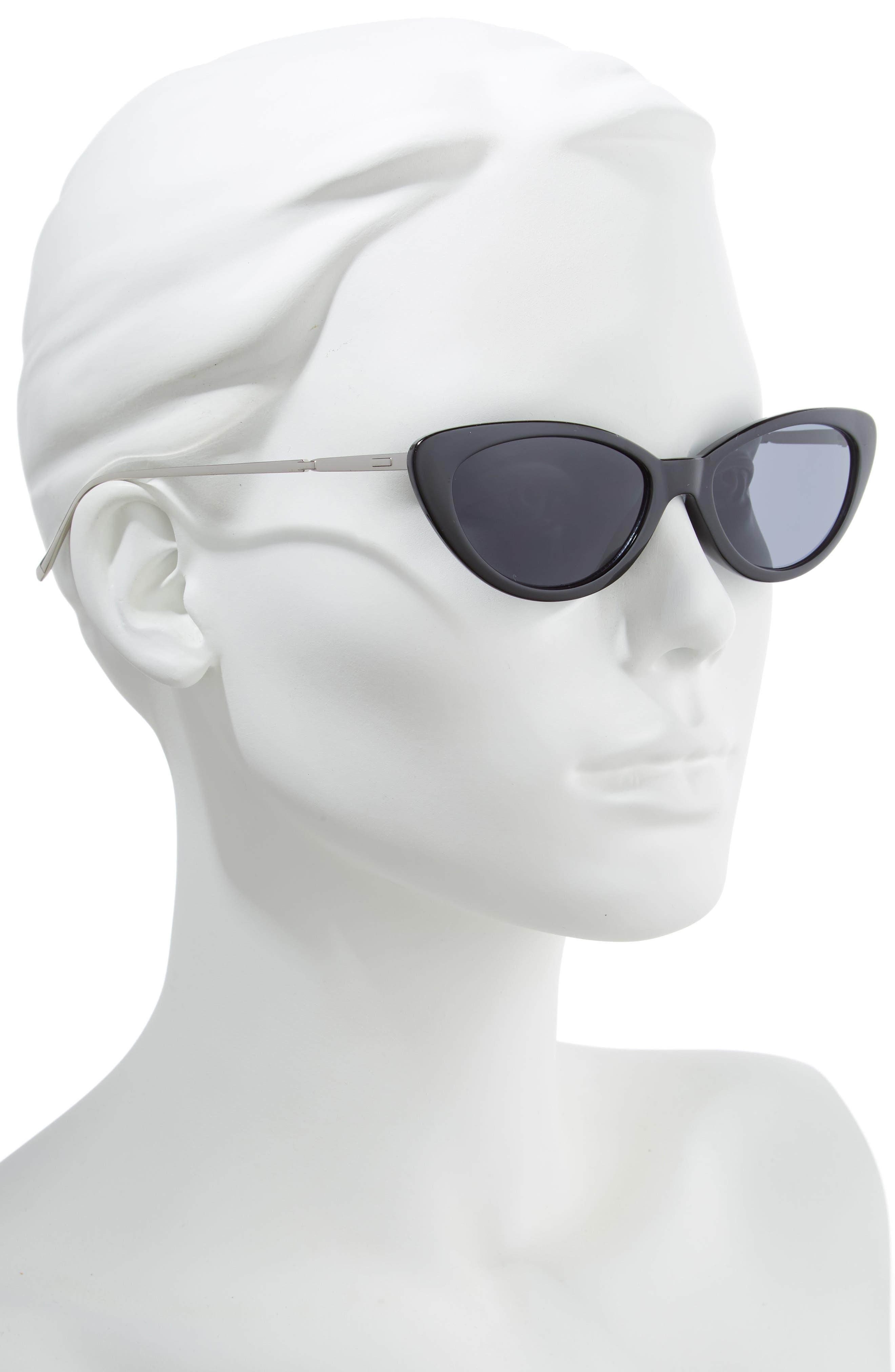 53mm Cat Eye Sunglasses,                             Alternate thumbnail 2, color,                             BLACK