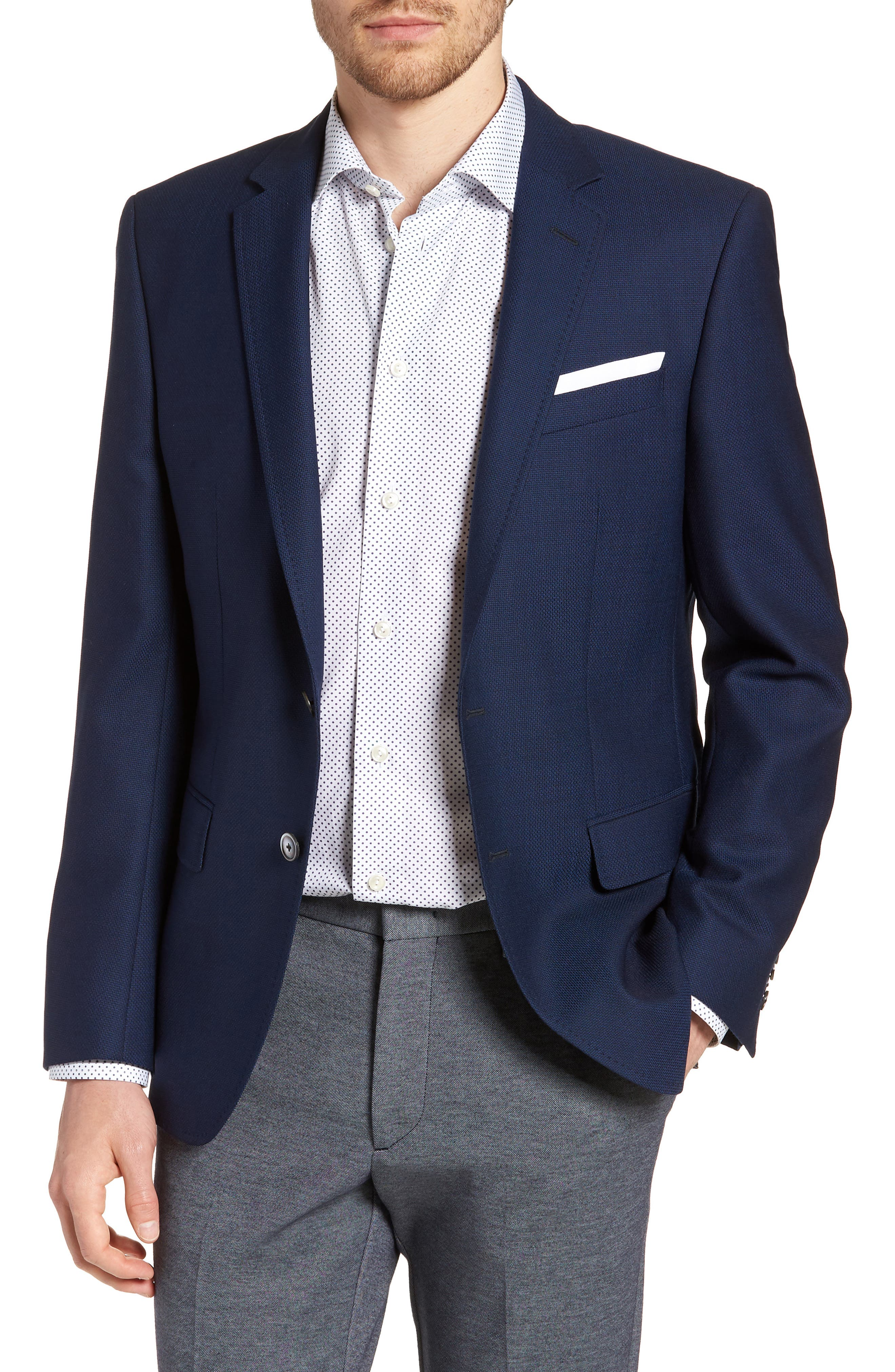 Hutsons Trim Fit Wool Blazer,                             Main thumbnail 1, color,                             BLUE