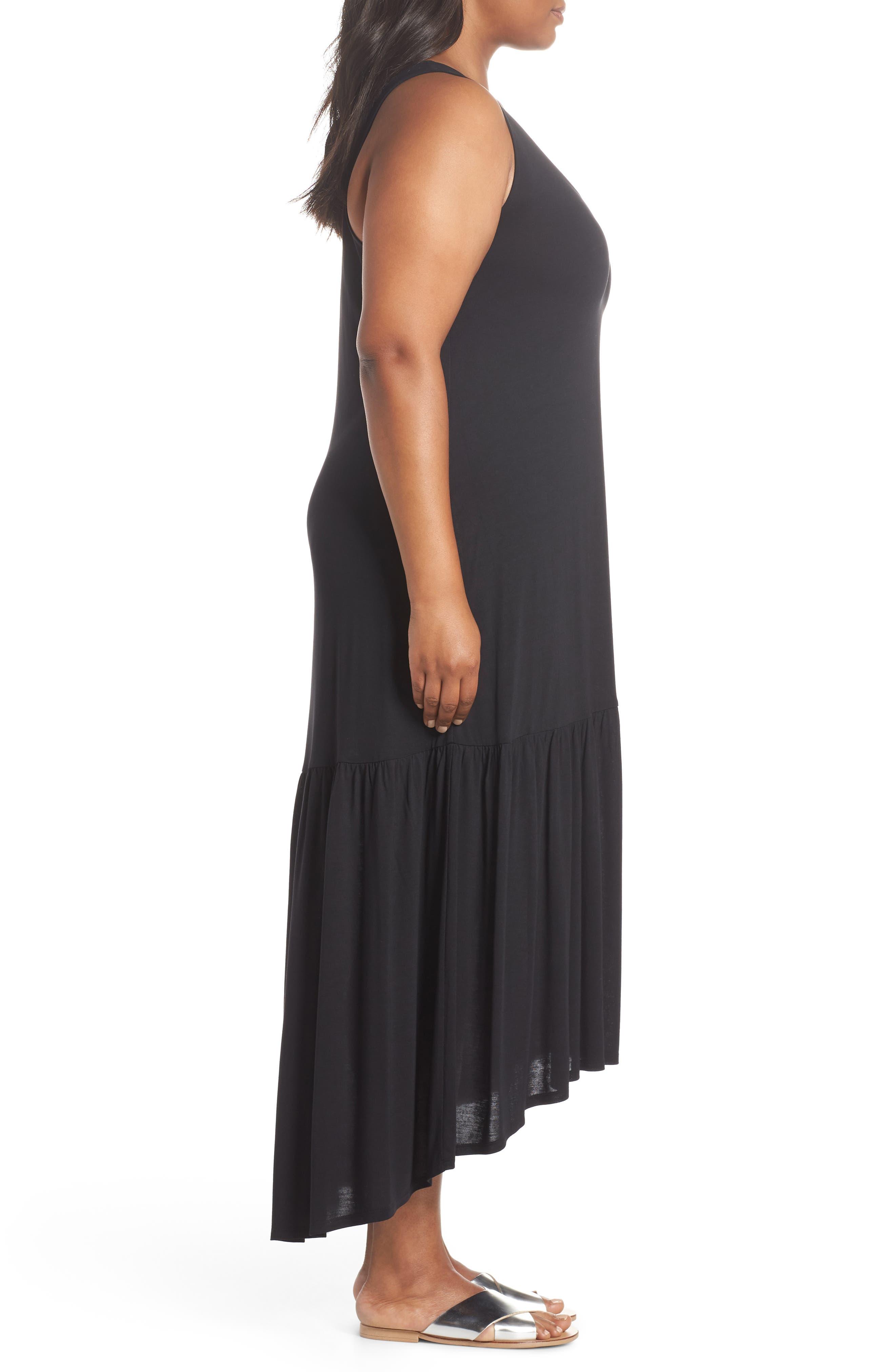 Sleeveless High/Low Knit Maxi Dress,                             Alternate thumbnail 3, color,                             001