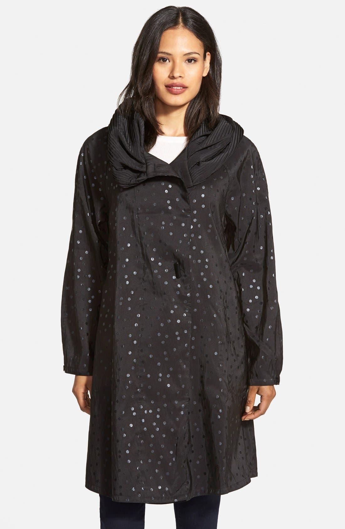 'Donatella' Reversible Dot Pleat Hood Packable Travel Coat,                             Main thumbnail 1, color,                             017