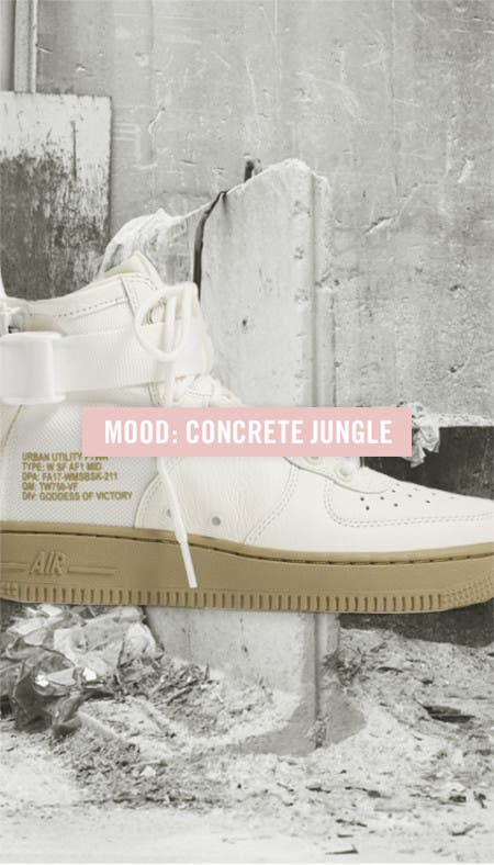 Nordstrom x Nike moodboard: concrete jungle featuring Nike SF Air Force 1.