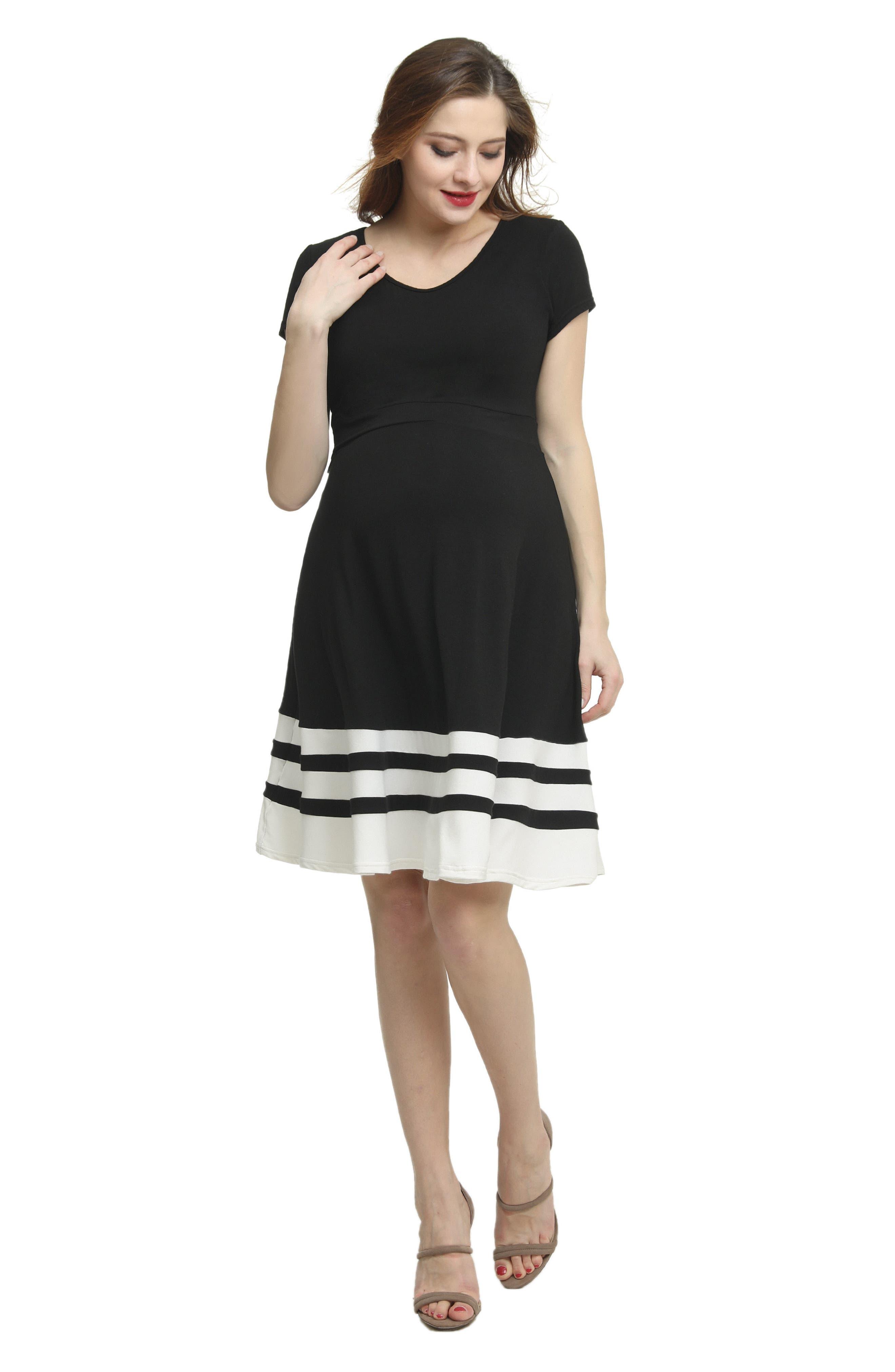 Theresa Colorblock Maternity Skater Dress,                             Alternate thumbnail 5, color,                             BLACK/ WHITE