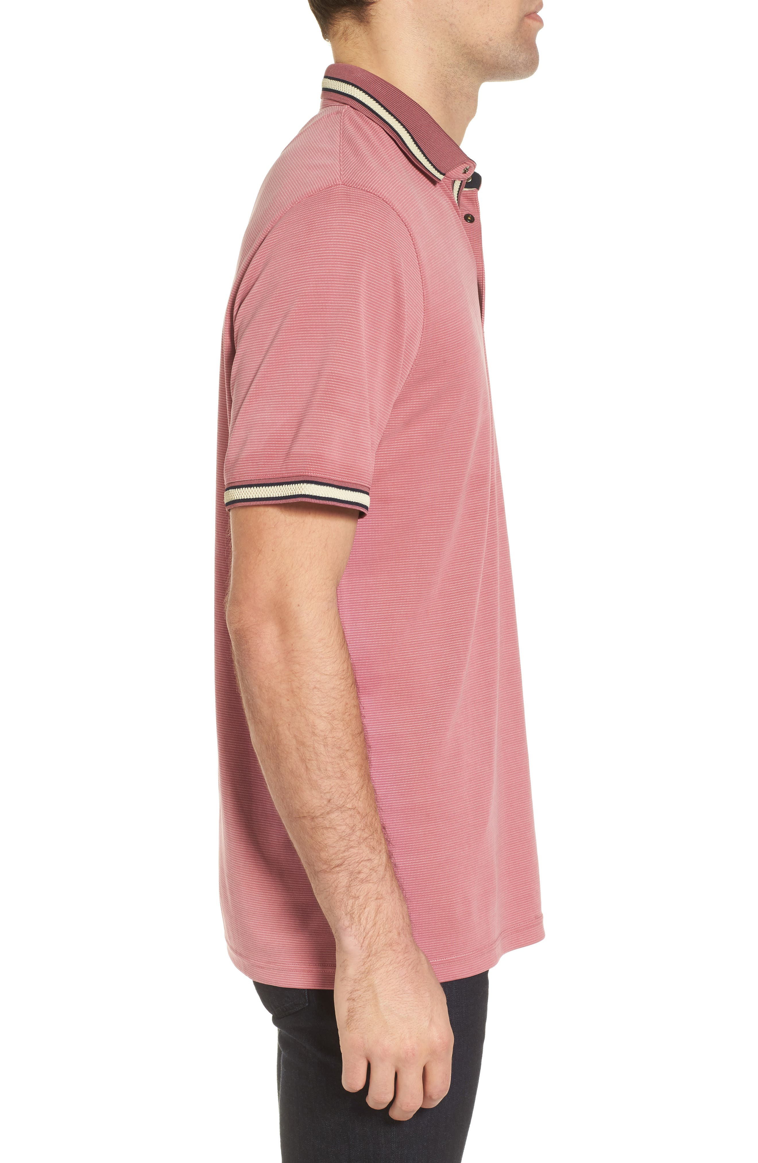 Chumm Trim Fit Birdseye Polo,                             Alternate thumbnail 3, color,                             PINK