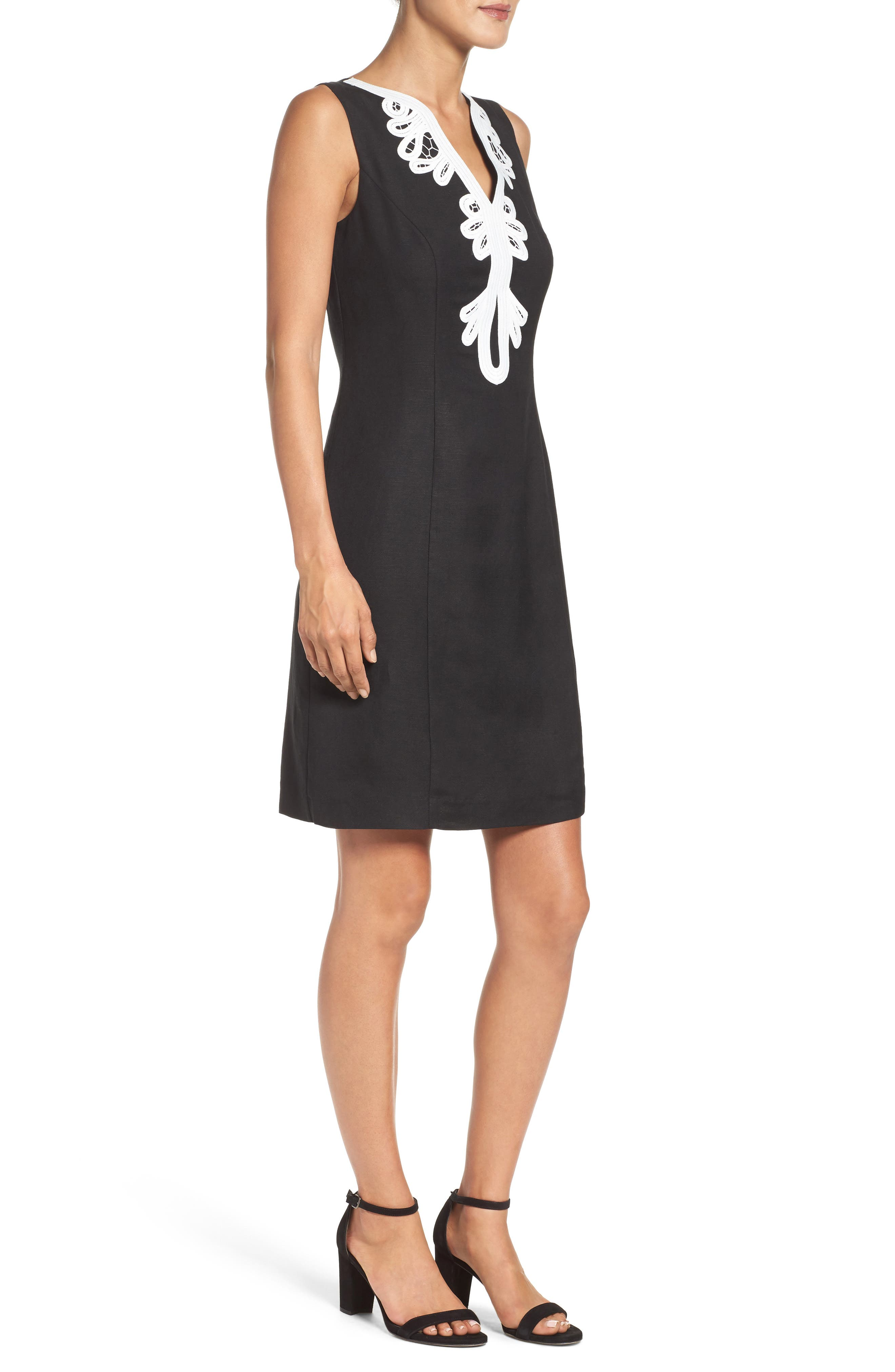 Embroidered Neck Sheath Dress,                             Alternate thumbnail 3, color,                             001