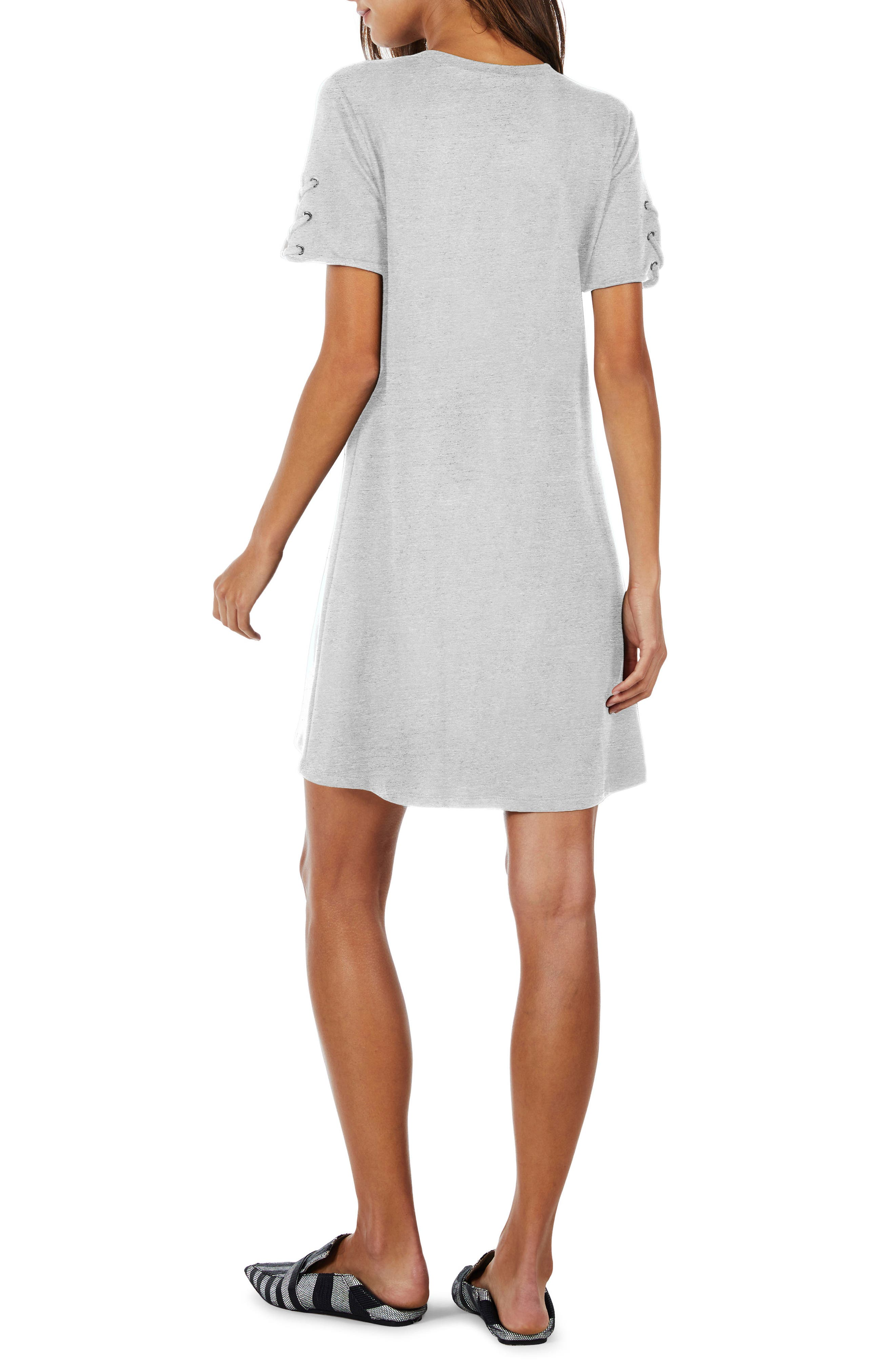 Lace-Up Sleeve Dress,                             Alternate thumbnail 4, color,