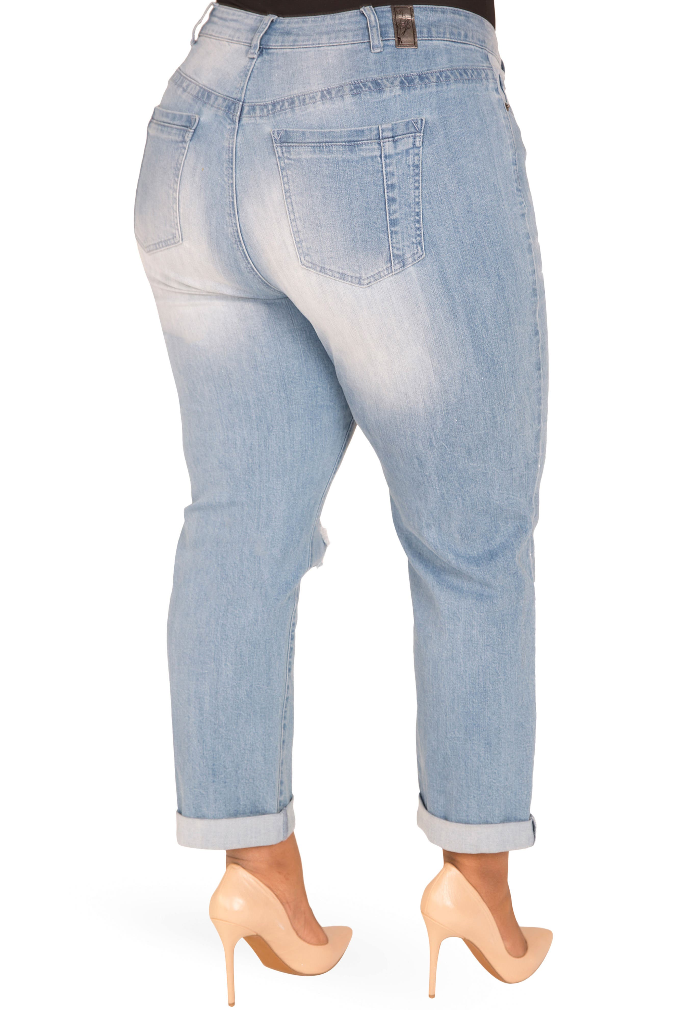 Verla Destroyed Boyfriend Jeans,                             Alternate thumbnail 2, color,                             LIGHT BLUE