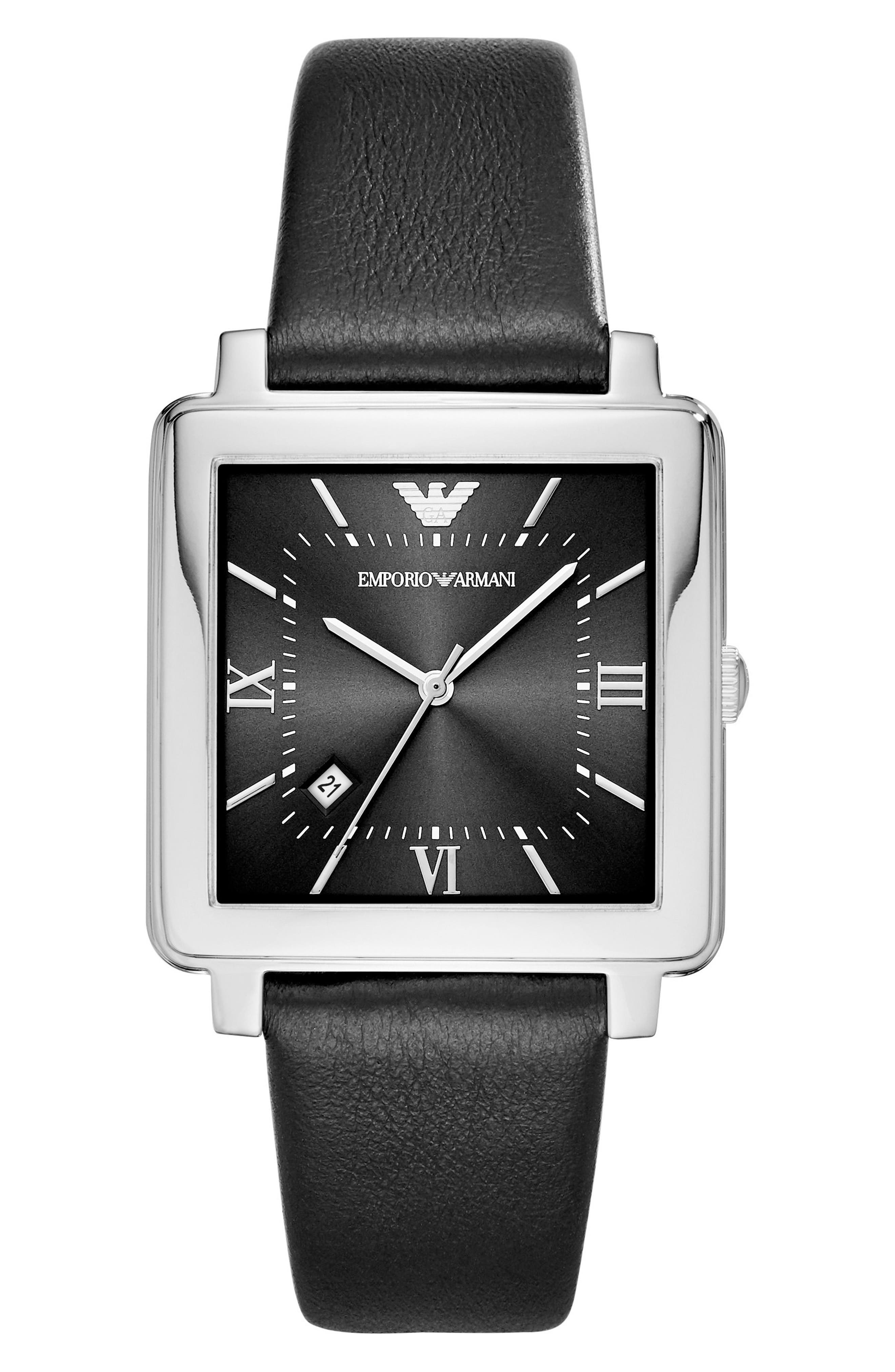 Square Leather Strap Watch, 38mm,                             Main thumbnail 1, color,