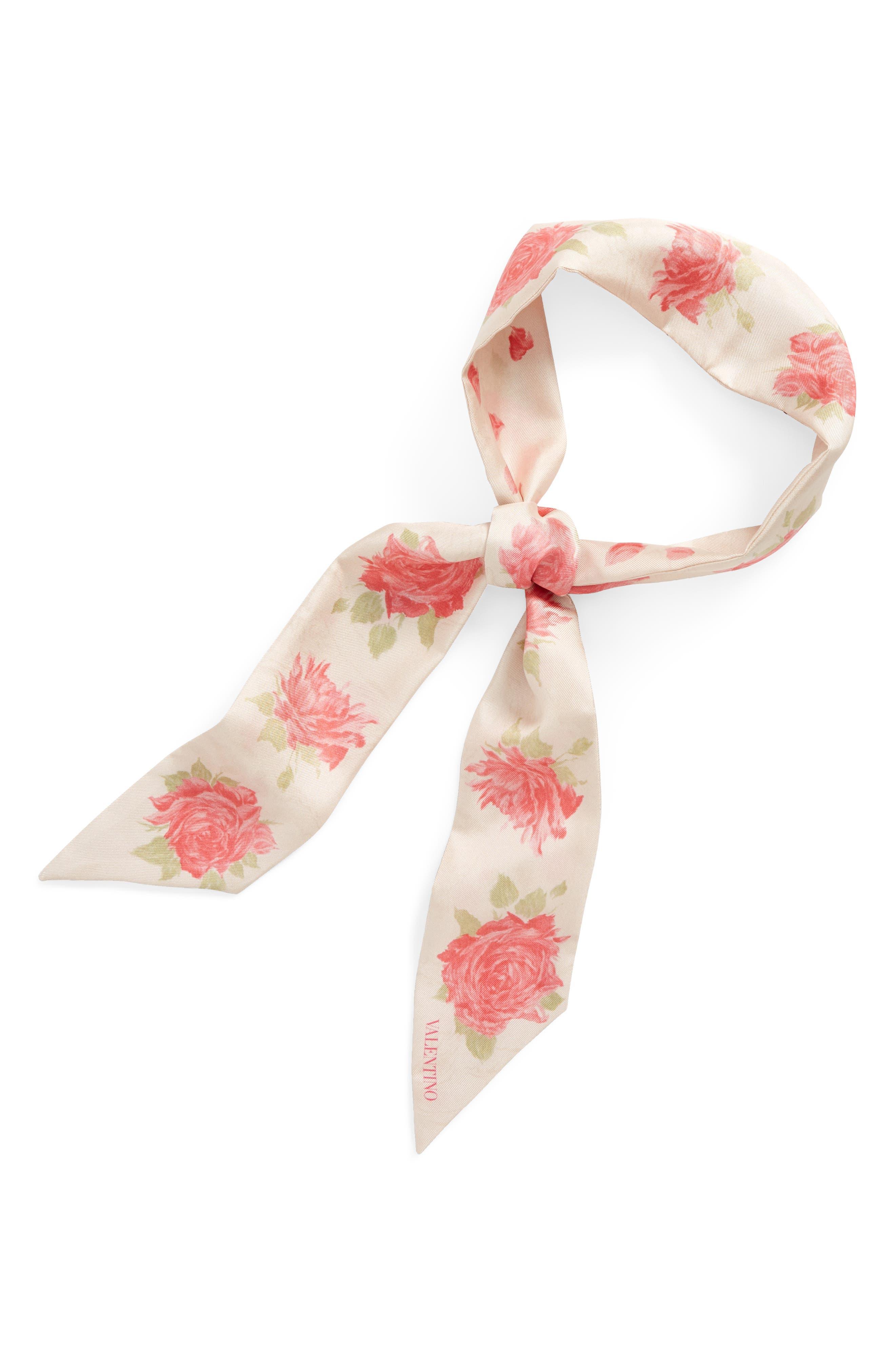 GARAVANI Rose Re-Edition Skinny Silk Scarf,                             Alternate thumbnail 2, color,