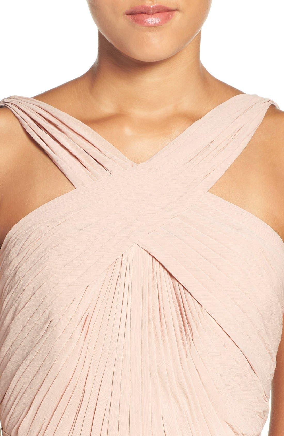 'Micah' Crisscross Neck A-Line Chiffon Gown,                             Alternate thumbnail 6, color,                             BUFF