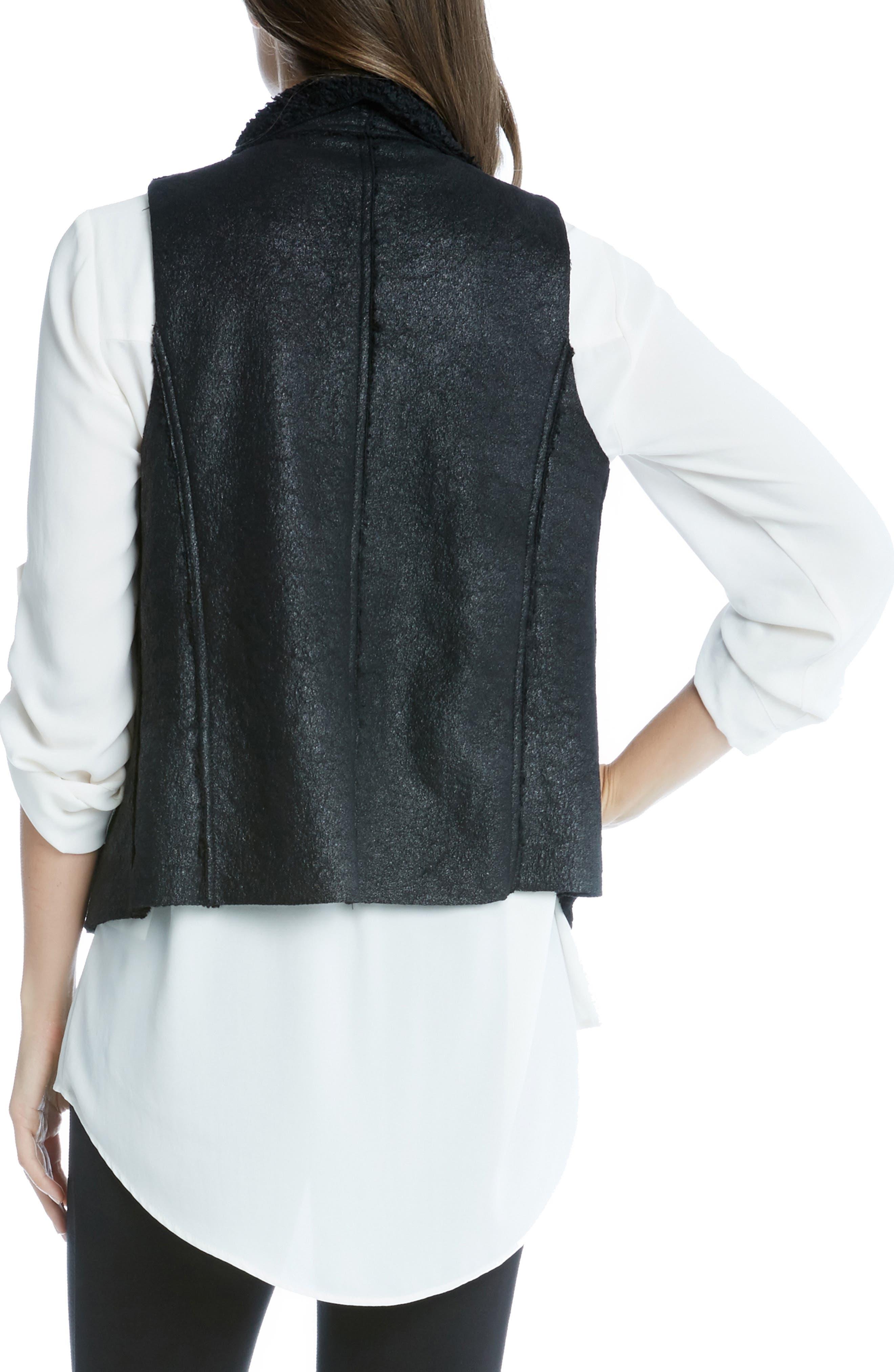 Reversible Faux Fur Vest,                             Alternate thumbnail 3, color,                             BLACK