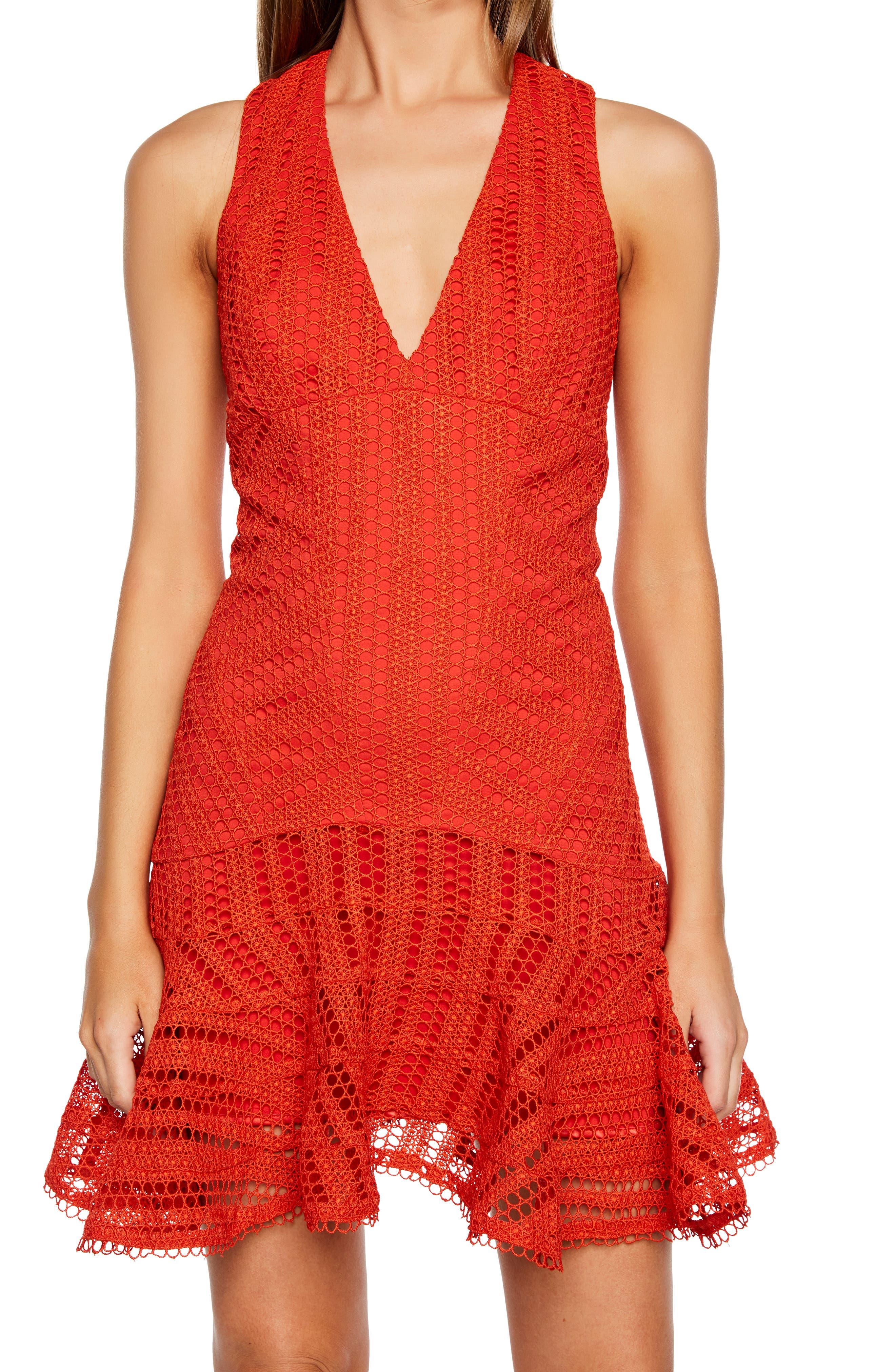 BARDOT,                             Fiesta Lace Cocktail Dress,                             Alternate thumbnail 4, color,                             FIESTA ORANGE