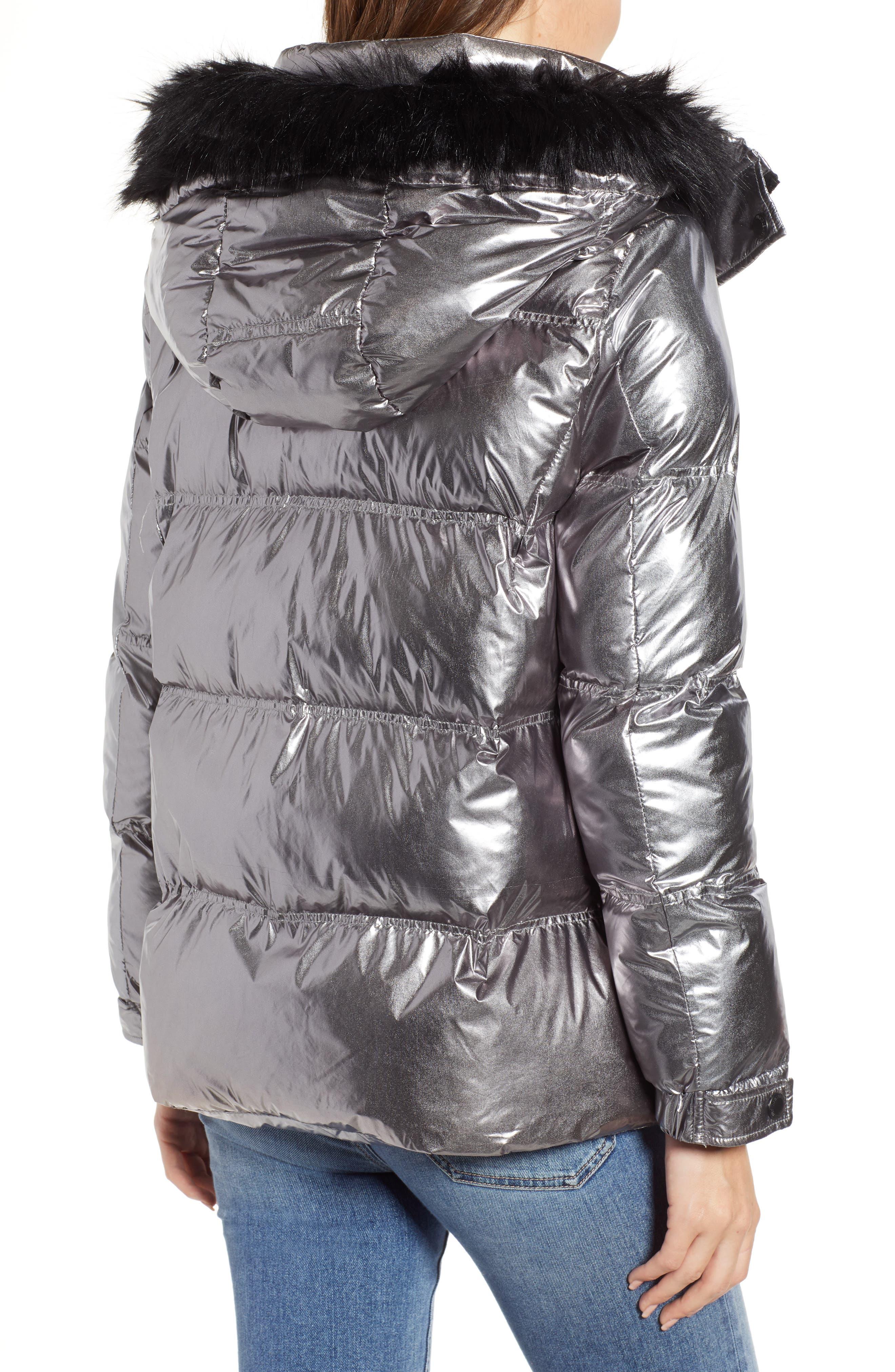 Faux Fur Trim Hooded Puffer Coat,                             Alternate thumbnail 2, color,                             GUNMETAL