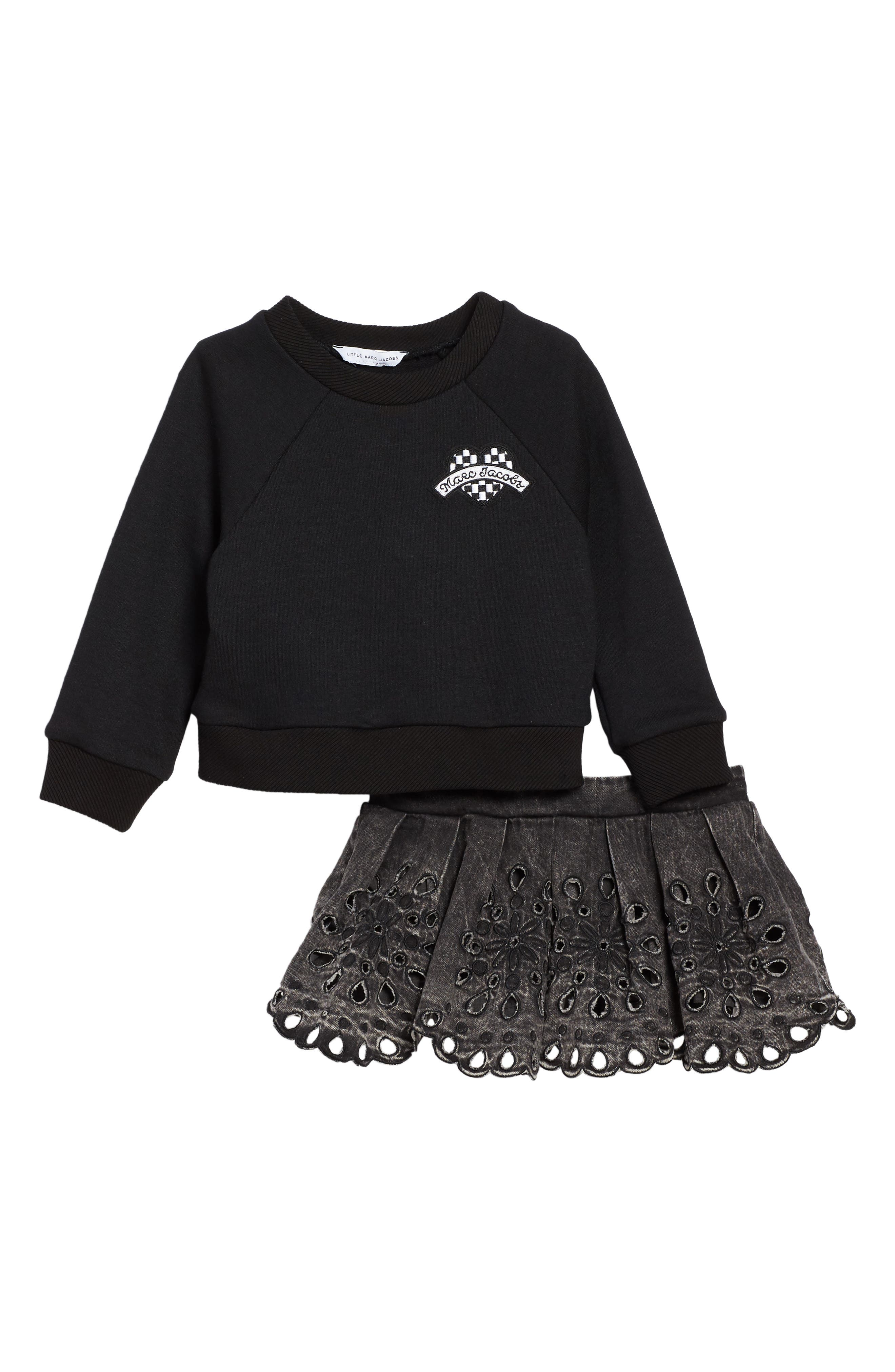 Sweatshirt & Skirt Set,                             Alternate thumbnail 2, color,                             001