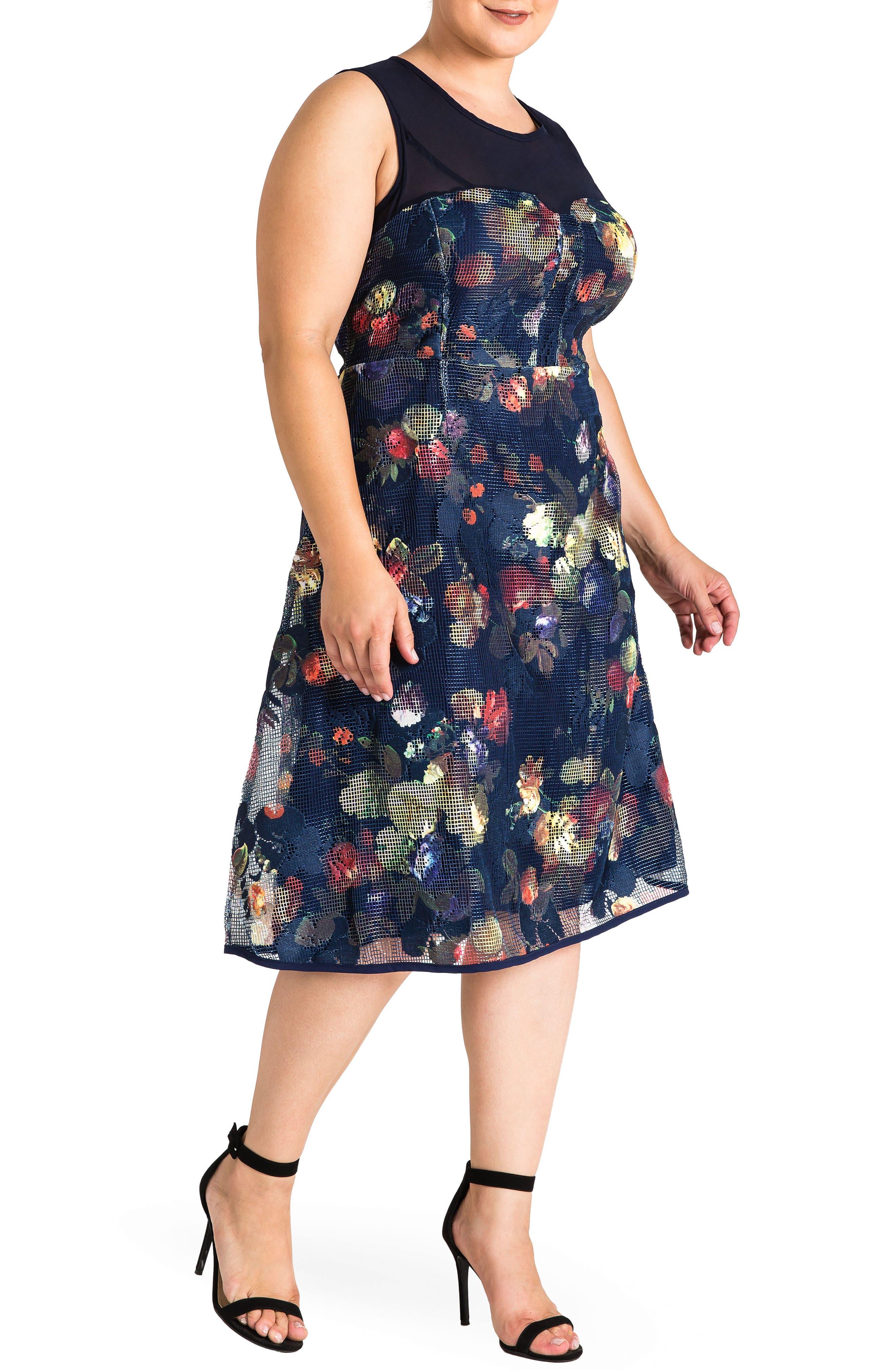 Angel Floral Mesh Dress,                             Alternate thumbnail 4, color,                             474