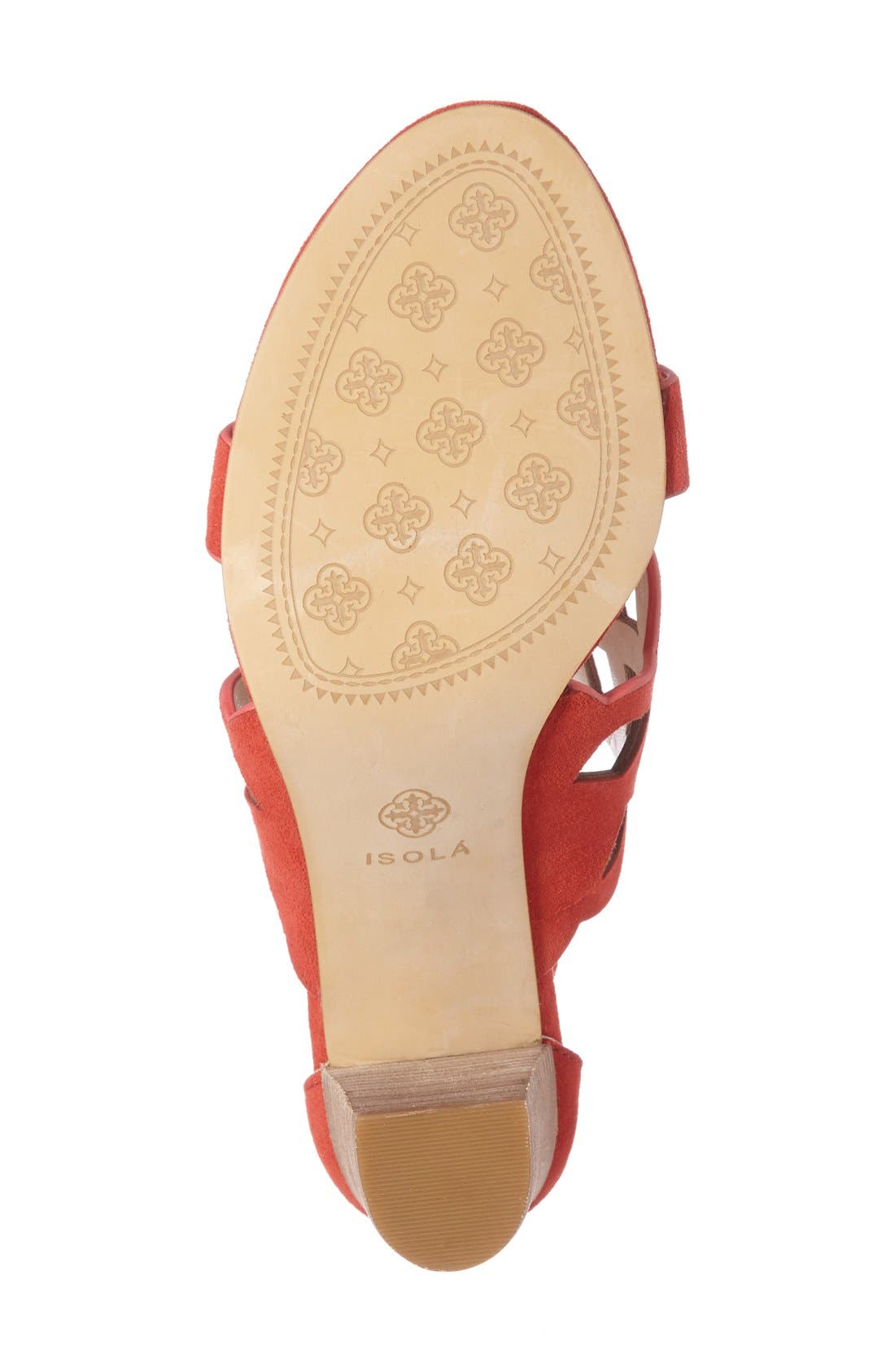 Despina Cutout Ankle Strap Sandal,                             Alternate thumbnail 6, color,                             LIPSTICK RED SUEDE