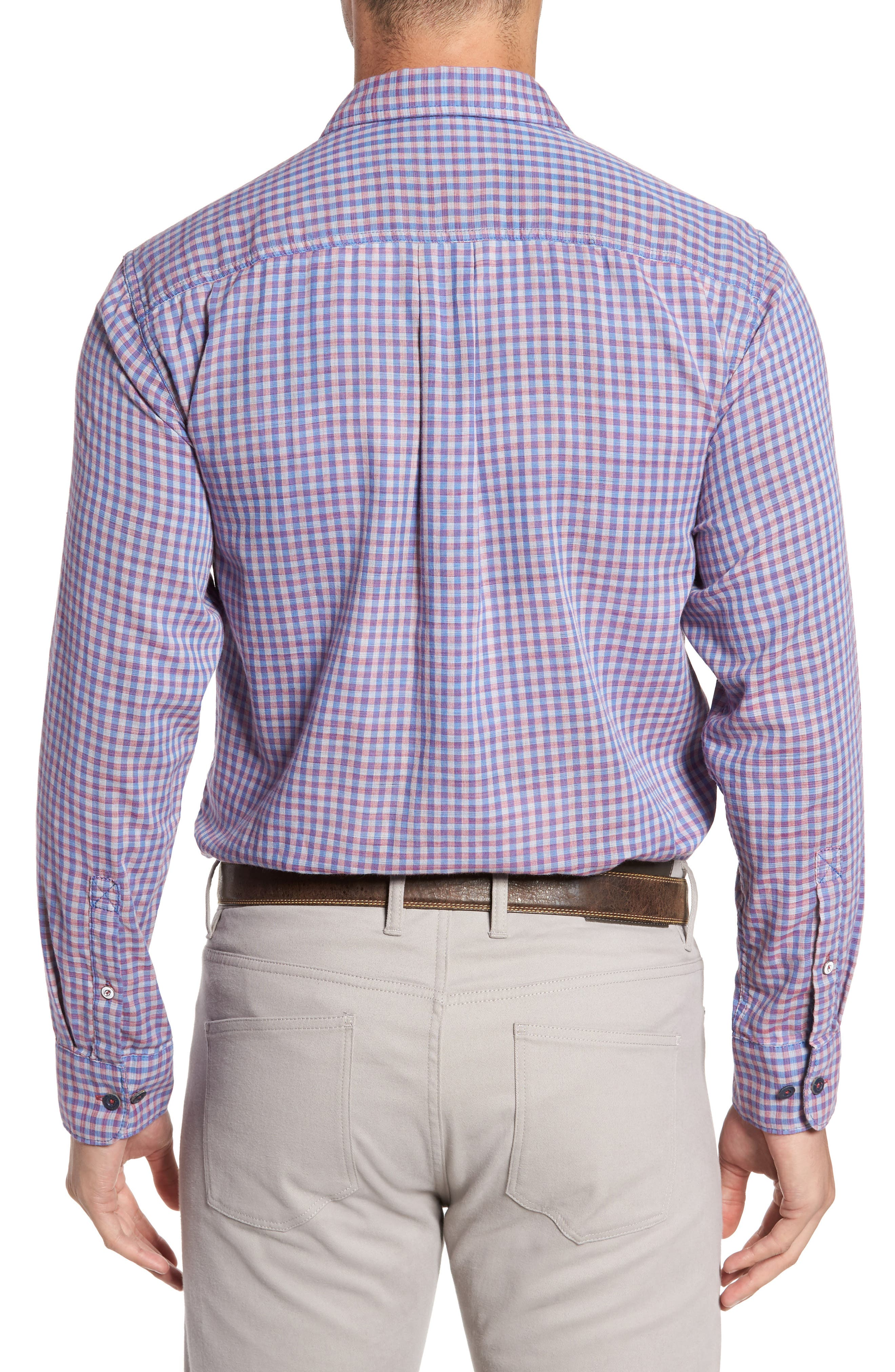Dual Lux Gingham Sport Shirt,                             Alternate thumbnail 2, color,