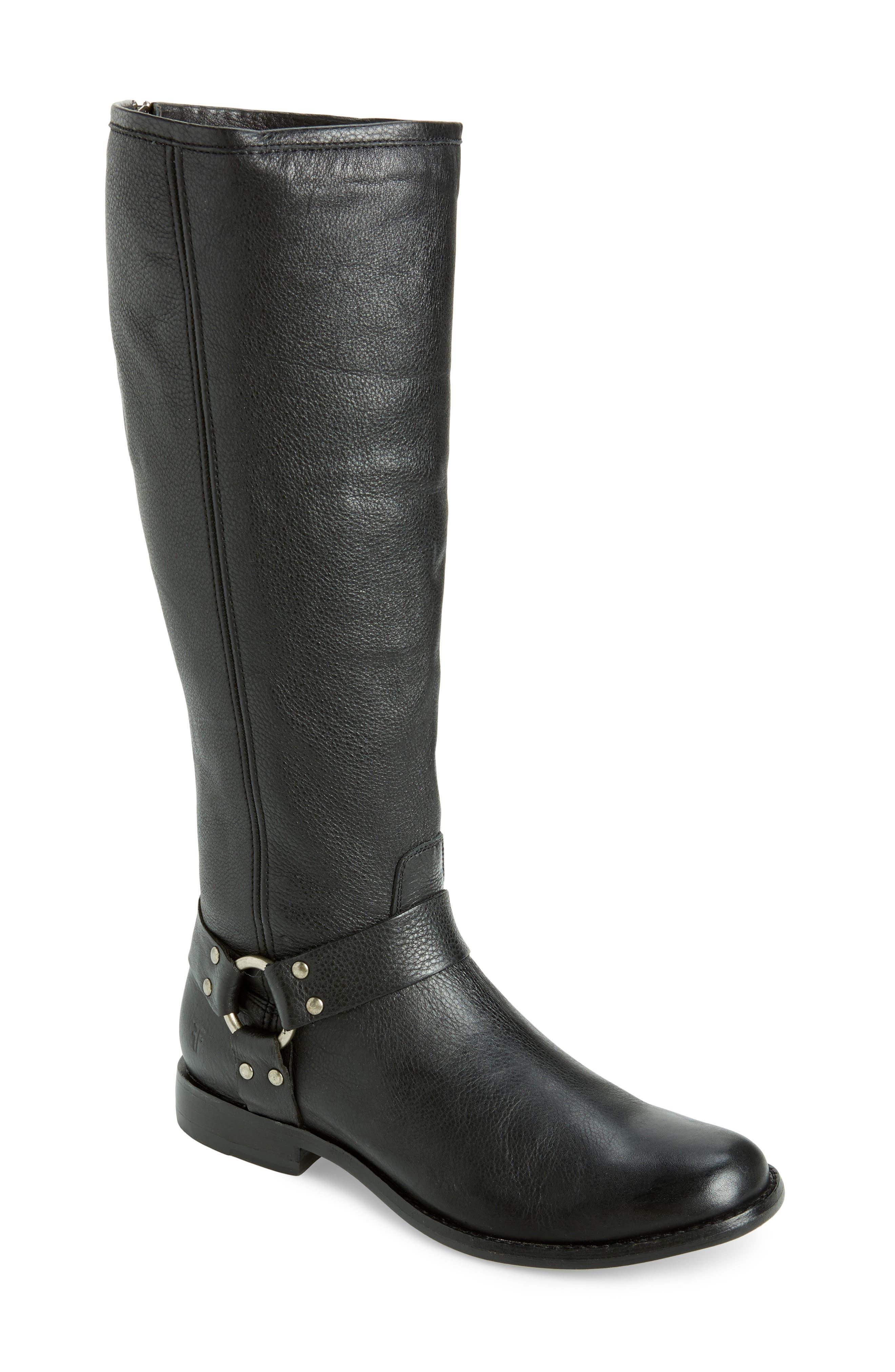 Phillip Harness Tall Boot,                         Main,                         color, BLACK