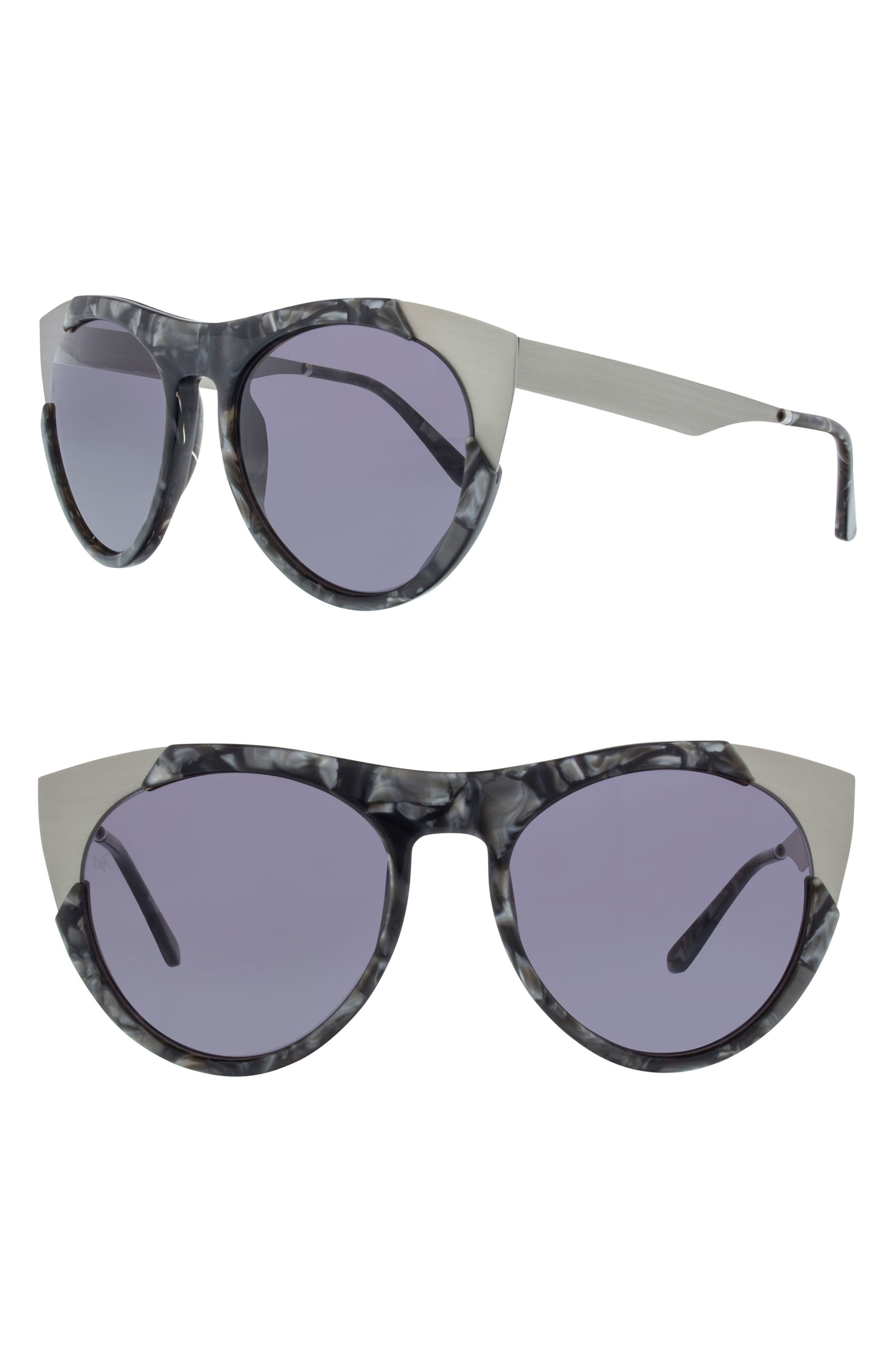 Zoubisou 53mm Cat Eye Sunglasses,                             Main thumbnail 1, color,                             BLACK SCALES/ BRUSHED SILVER