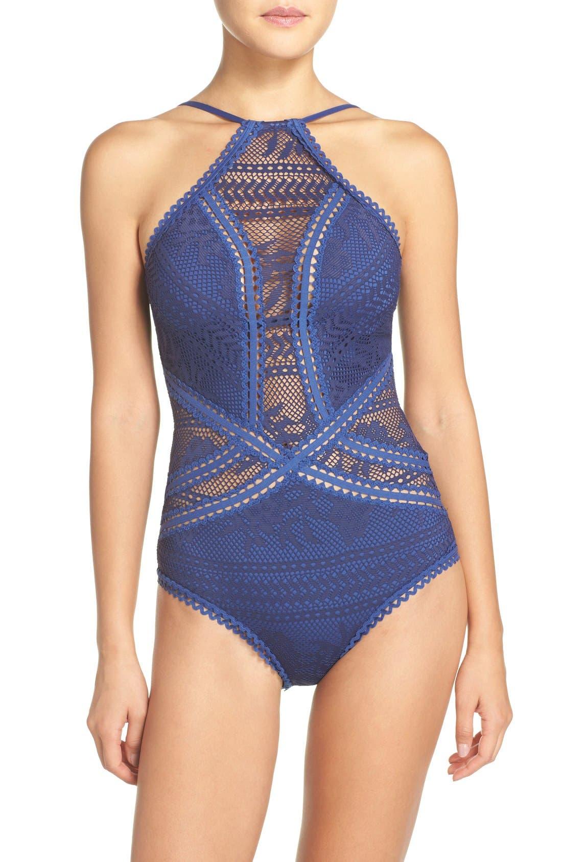 Prairie Rose Crochet One-Piece Swimsuit,                             Main thumbnail 3, color,
