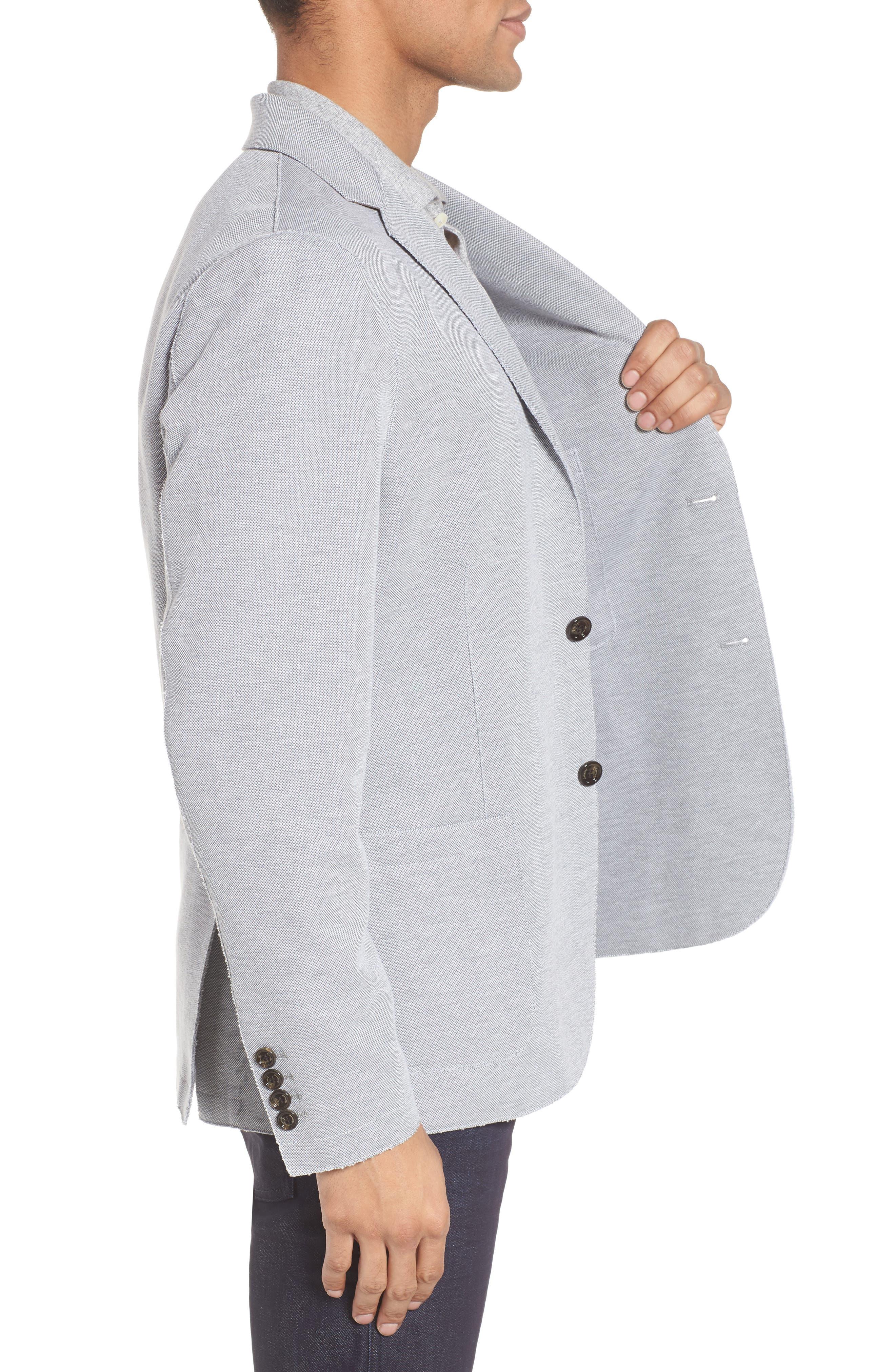 Trim Fit Jersey Blazer,                             Alternate thumbnail 3, color,                             GREY