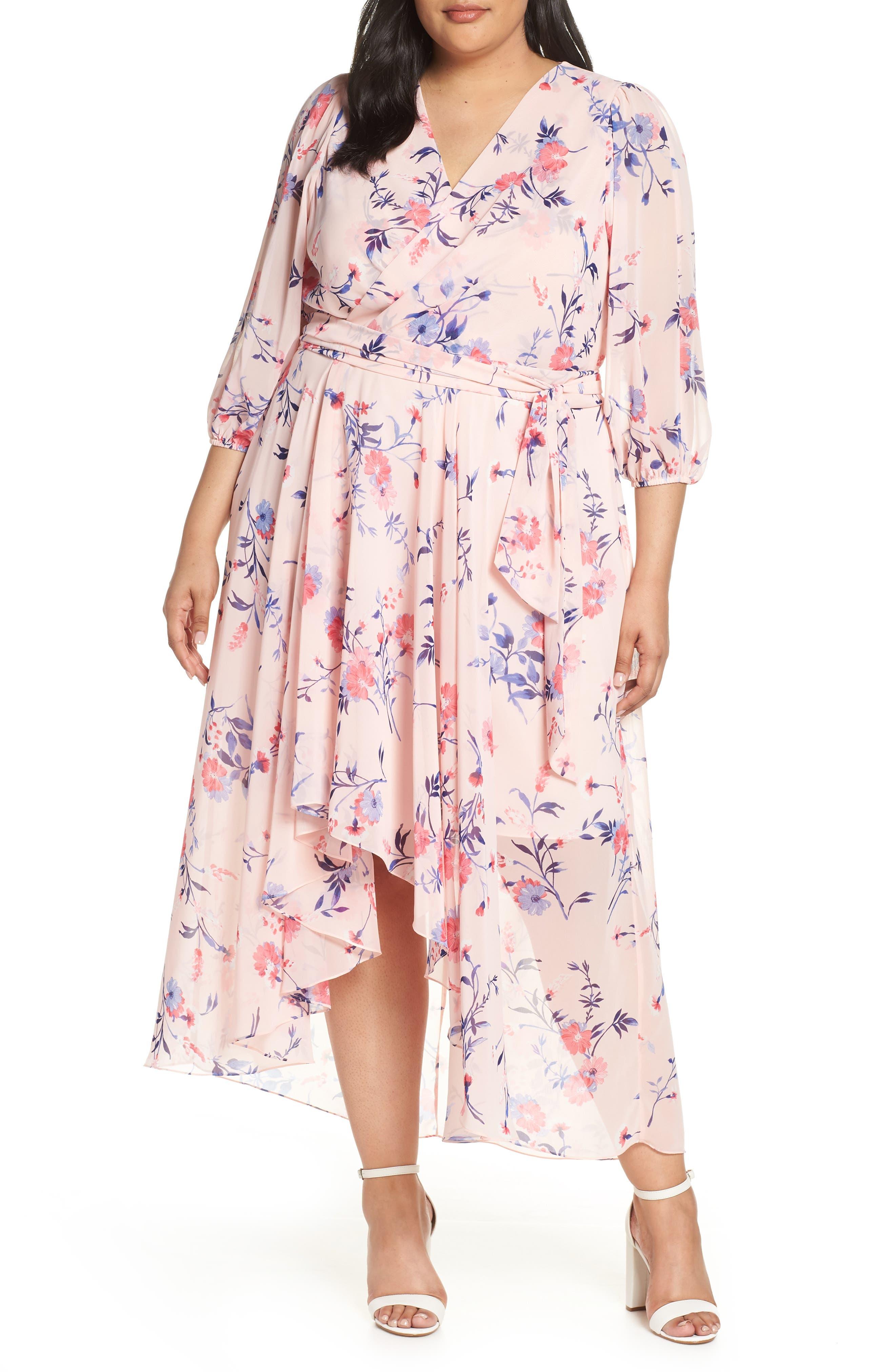 Plus Size Eliza J Floral Print High/low Wrap Maxi Dress, Pink